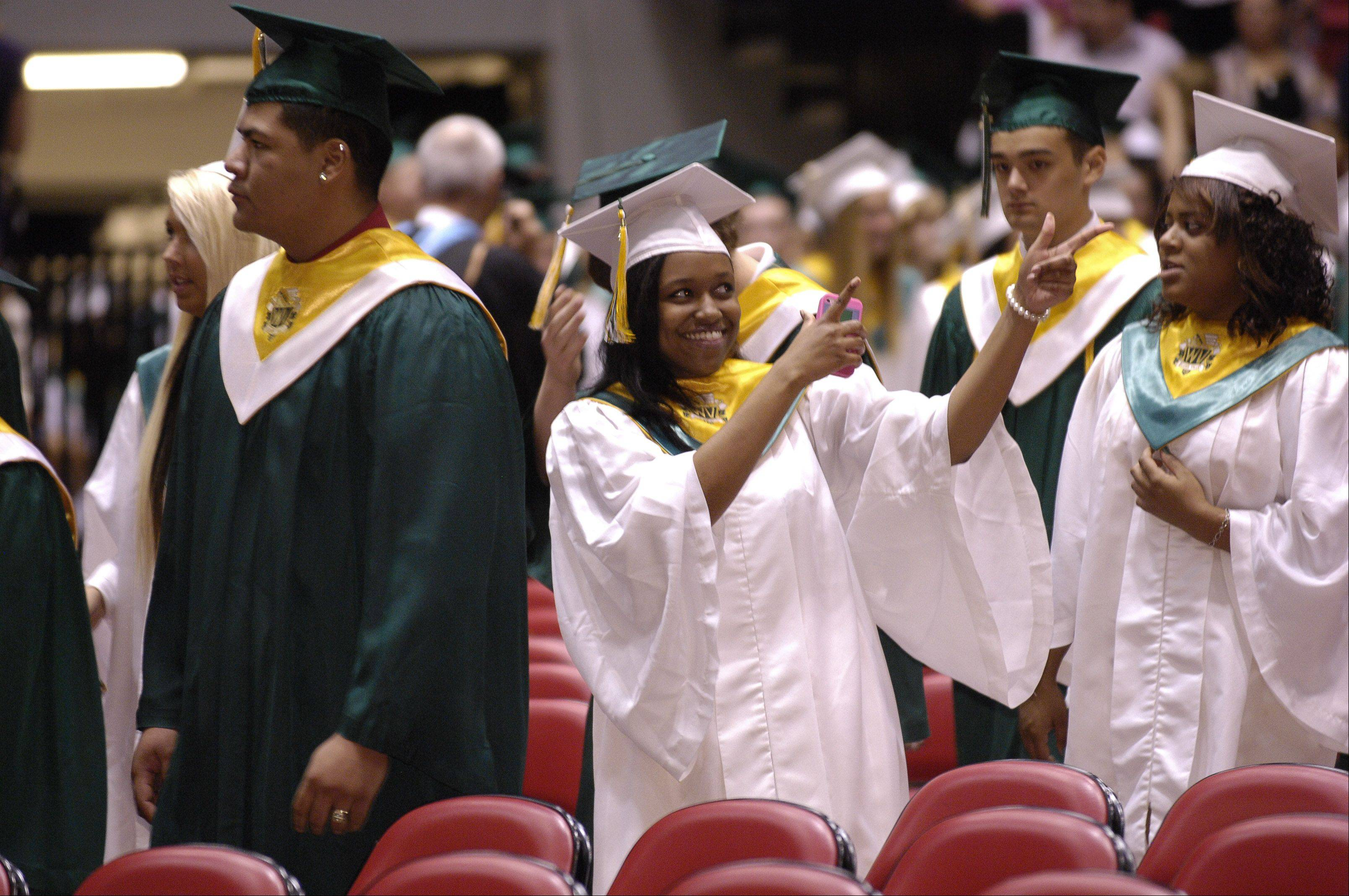 Waubonsie Valley High School held its graduation ceremony Sunday in DeKalb at NIU's Convocation Center.