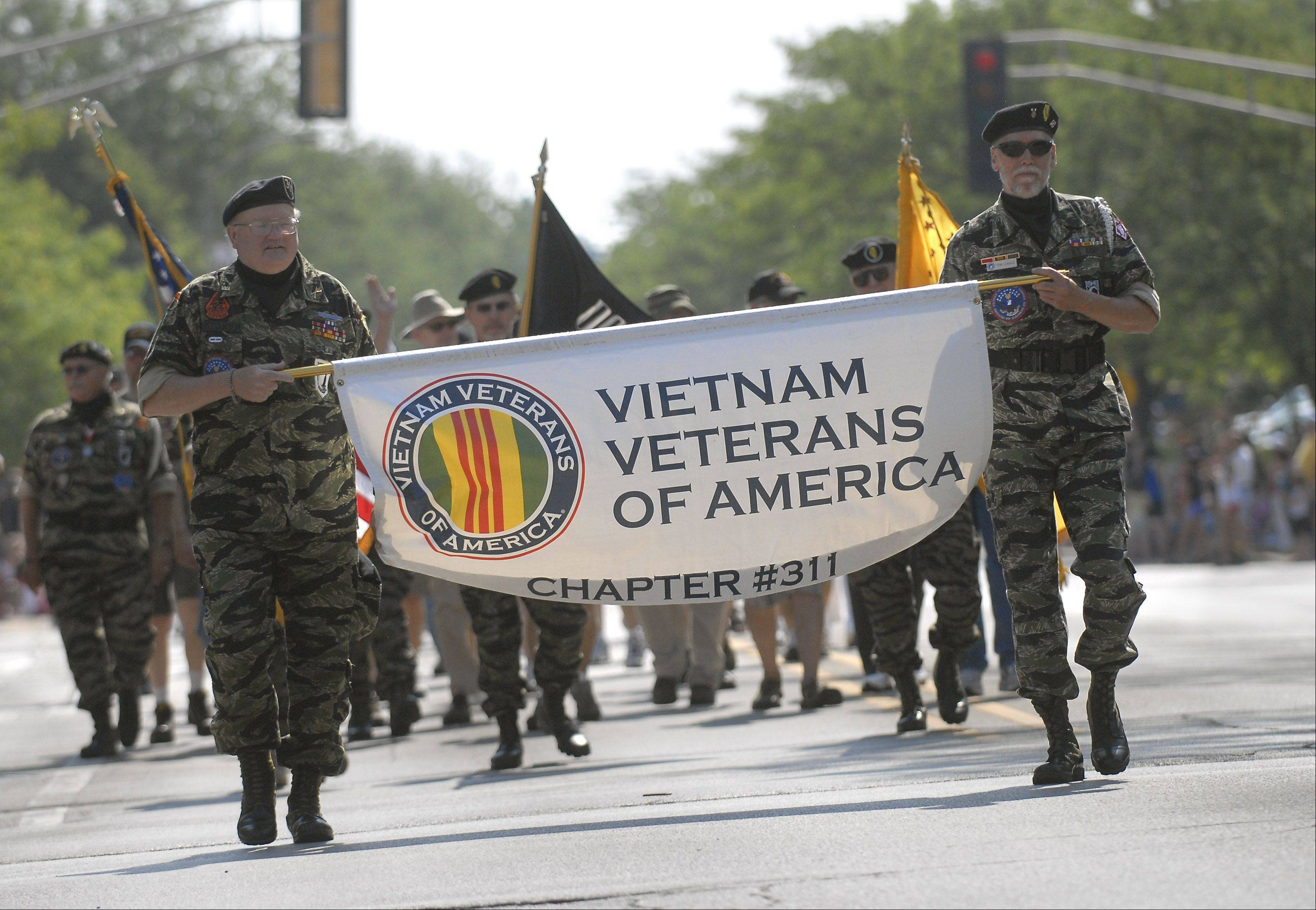 Chapter 311 of the Vietnam Veterans of America march in the Memorial Day parade in Monday in Arlington Heights. The parade kicked off at Village Hall and ended in a ceremony at Memorial Park.