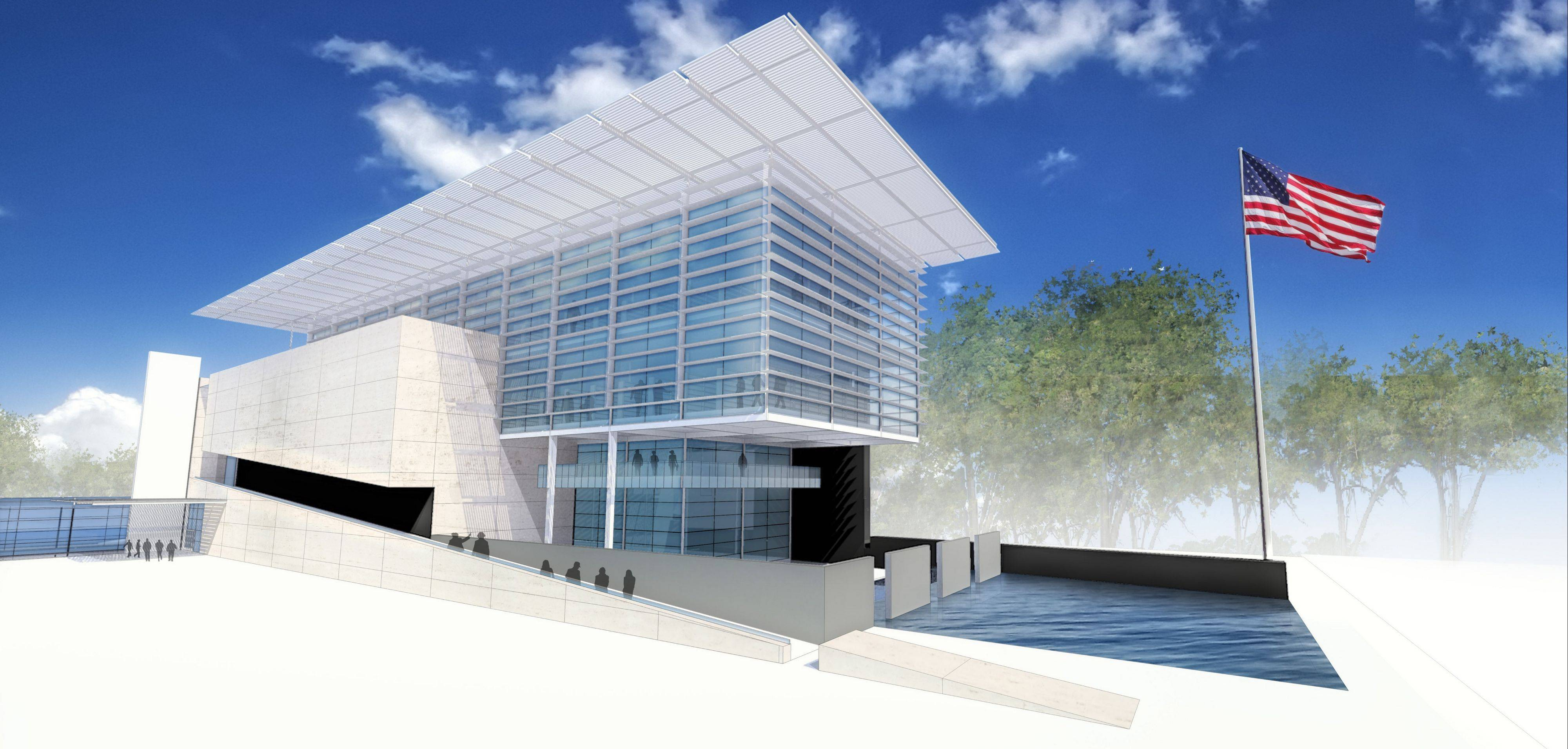 This rendering shows what the exterior of the proposed National Veterans Museum might look like.