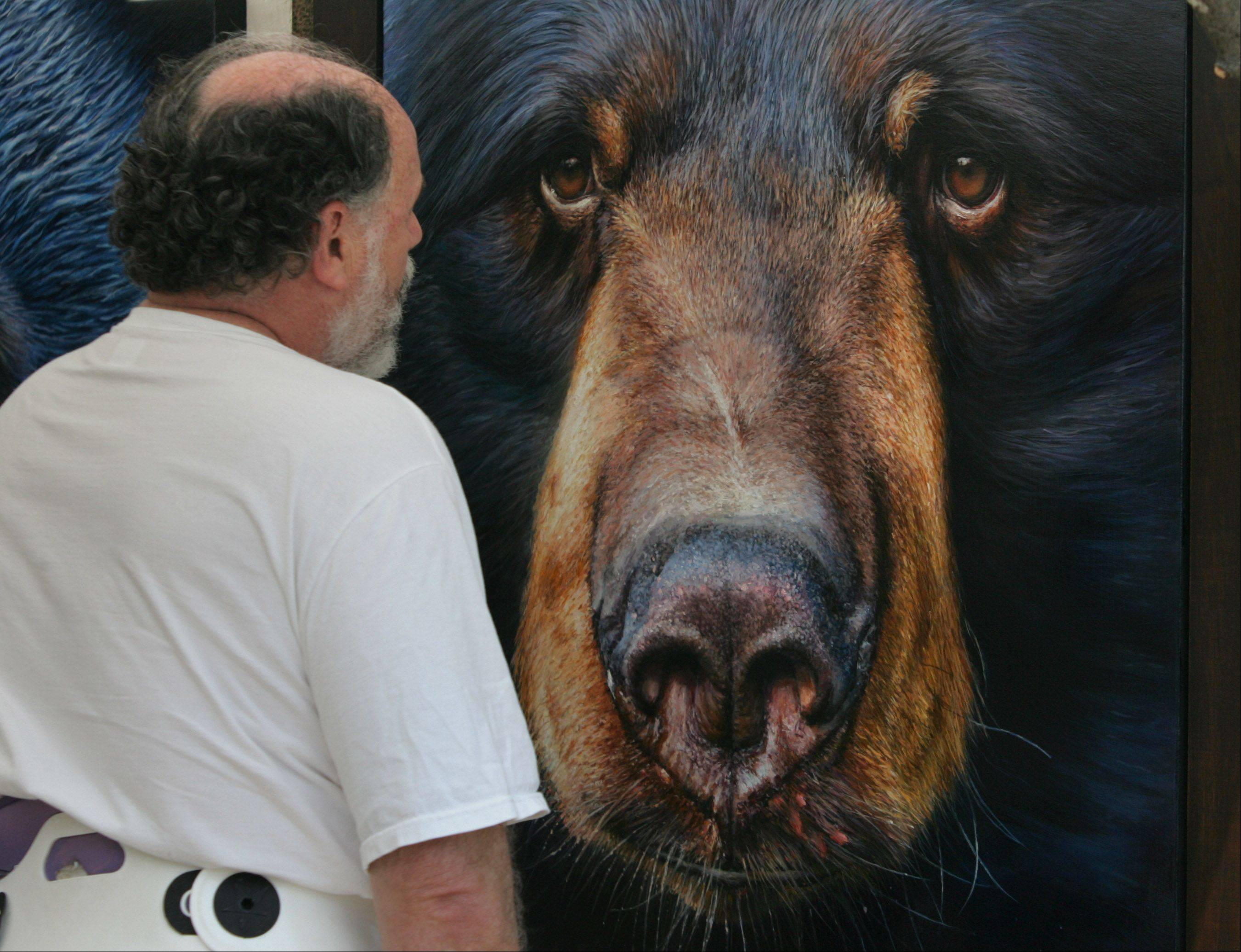 John Boots, of Woodstock, looks at the oil painting of a bear by Michael Bedoian during the Barrington Arts Festival Saturday along Station Street in downtown Barrington. The event featured more than 140 juried artists from around the world in a variety of medium.