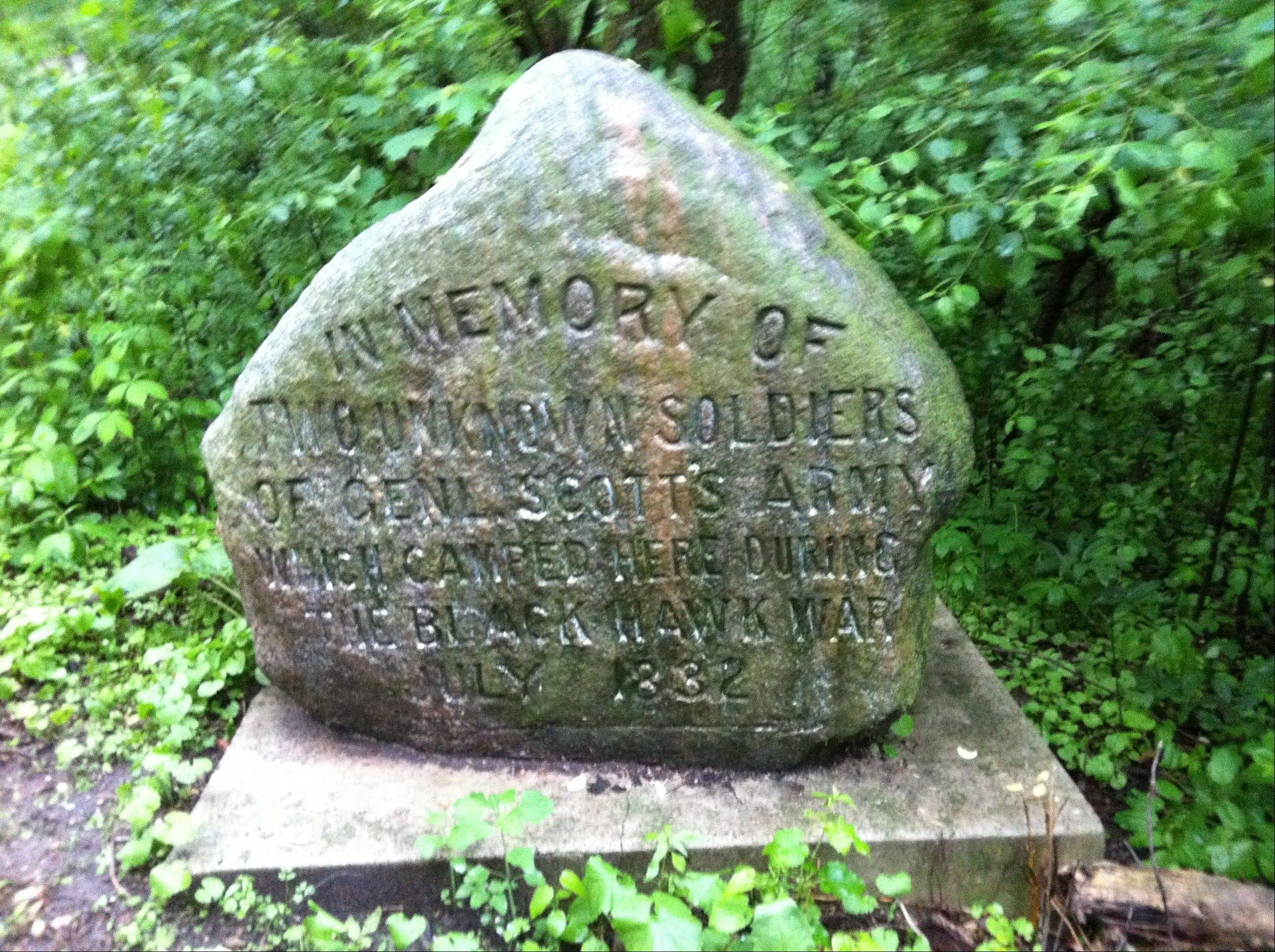 "The stone reads, ""In memory of two unknown soldiers of Genl. Scott's Army which camped here during the Blackhawk War July 1832."" The Blackhawk War will be the focus of a talk by Bill Briska at the Memorial Day service at Bluff City Cemetery."