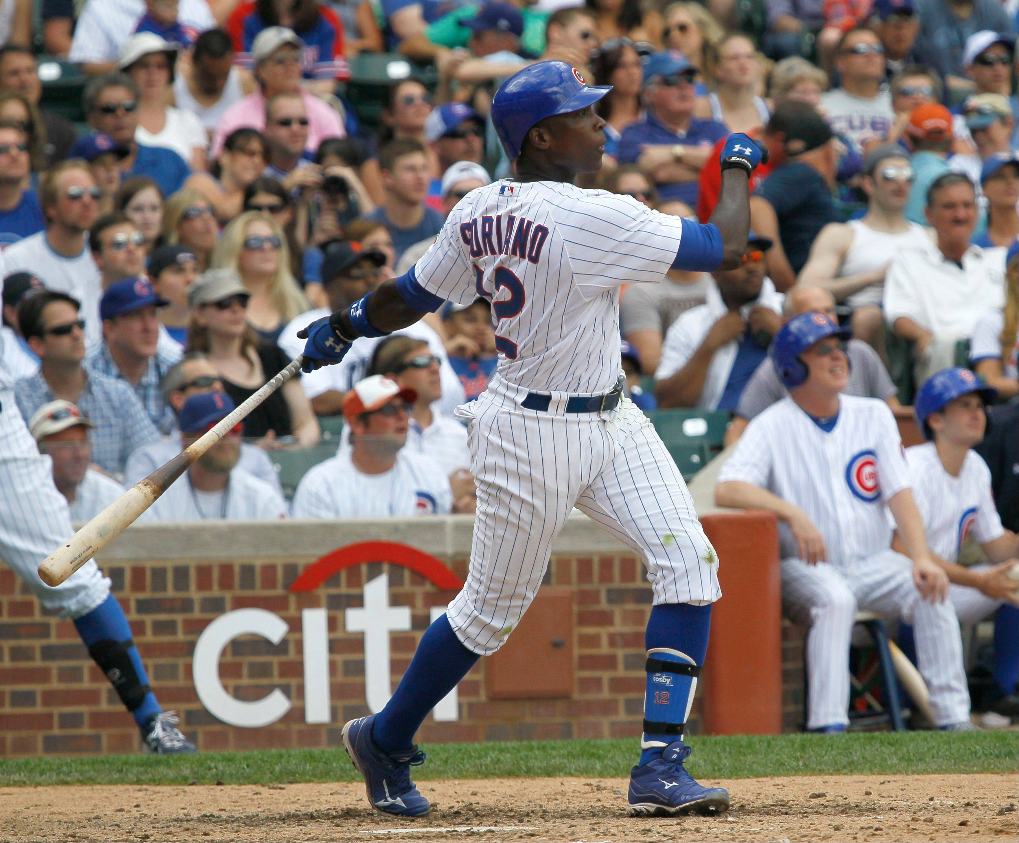 The Cubs' Alfonso Soriano hits a home run in the sixth inning of Tuesday's victory over the Padres.