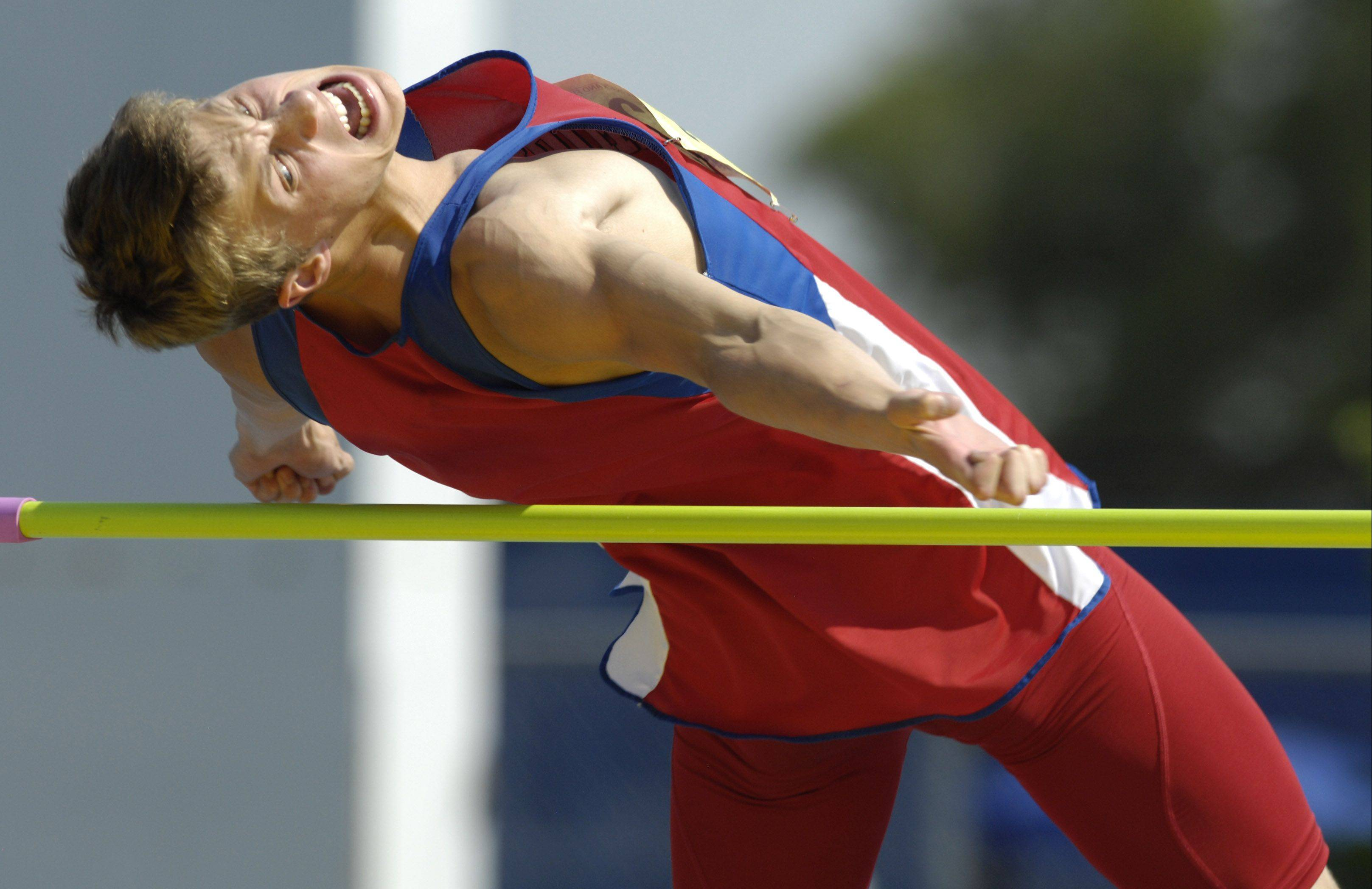Marmion's Pete Stefanski took second in the Class 3A high jump in the state track and field finals in Charleston Saturday.