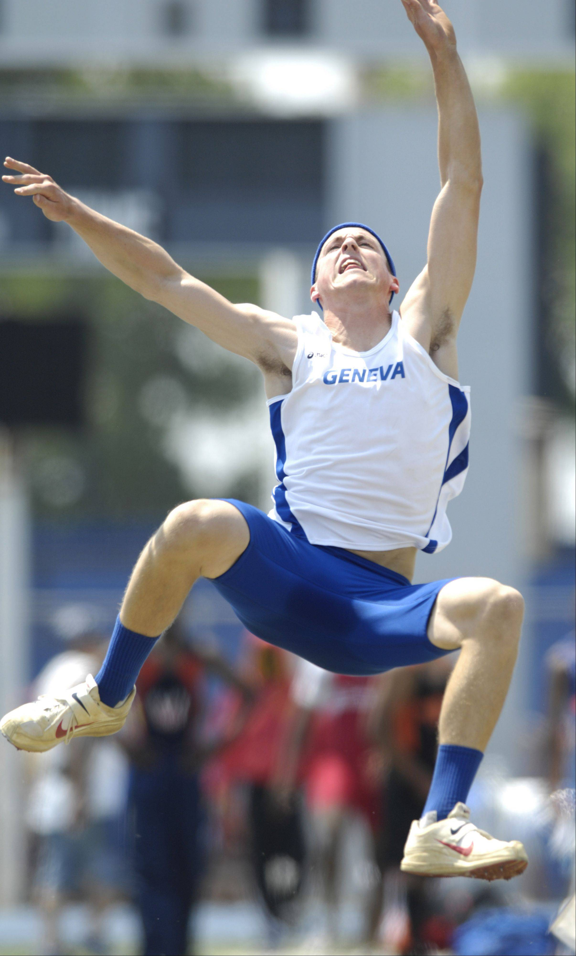 Geneva's Ben Rogers competes in the Class 3A long jump Saturday.