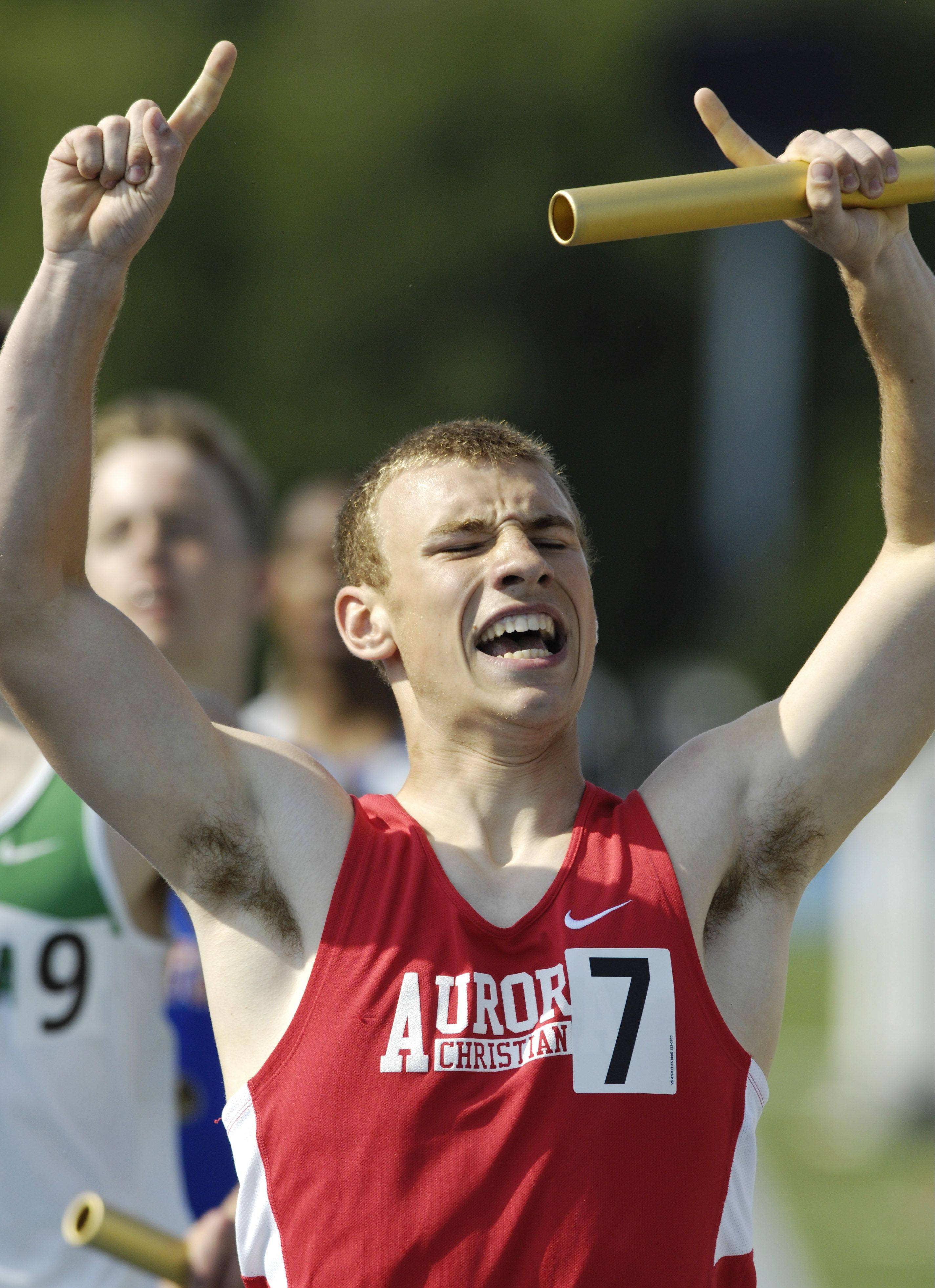 Anchor Dillon Howorth of Aurora Christian reacts to his team's victory in the Class 1A 1,600-meter relay.