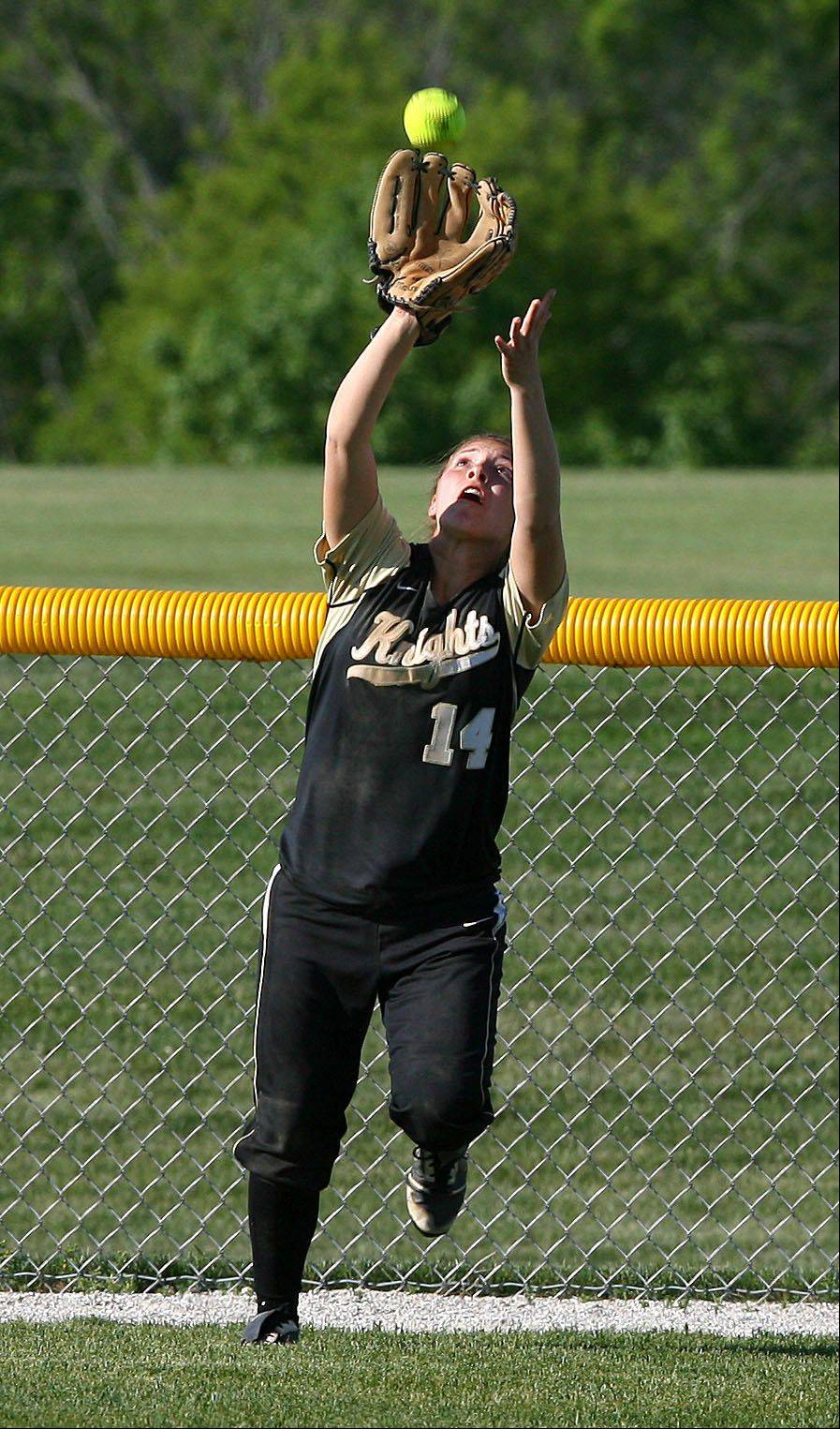 Grayslake North's Marli Kram makes a catch at the warning track during their class 3A regional semifinal against Grayslake Central Tuesday in Antioch.