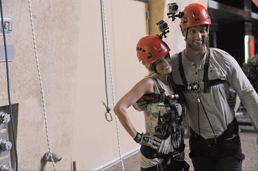 "Chris Bukowski of Bartlett and ""Bachelorette"" star Emily Maynard are dressed in climbing gear during a one-on-one date in Charlotte, N.C."