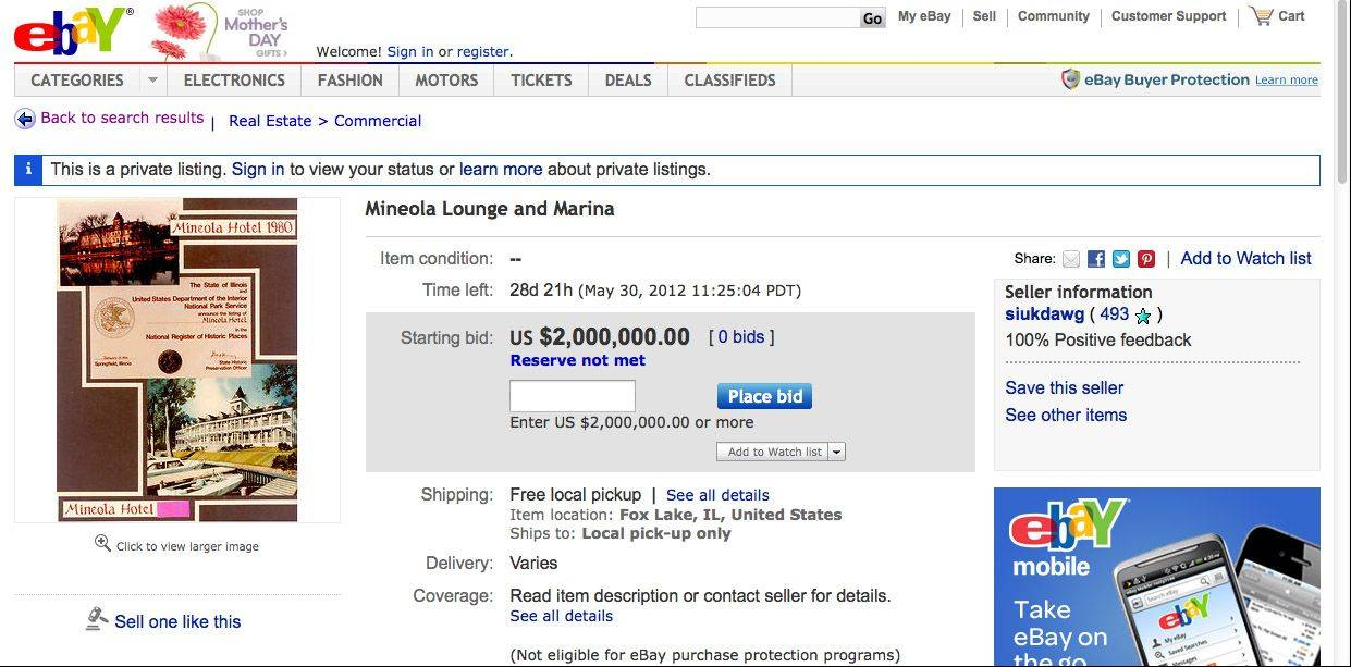 This is a screen shot of an eBay page listing the Mineola Hotel and Lounge in Fox Lake.