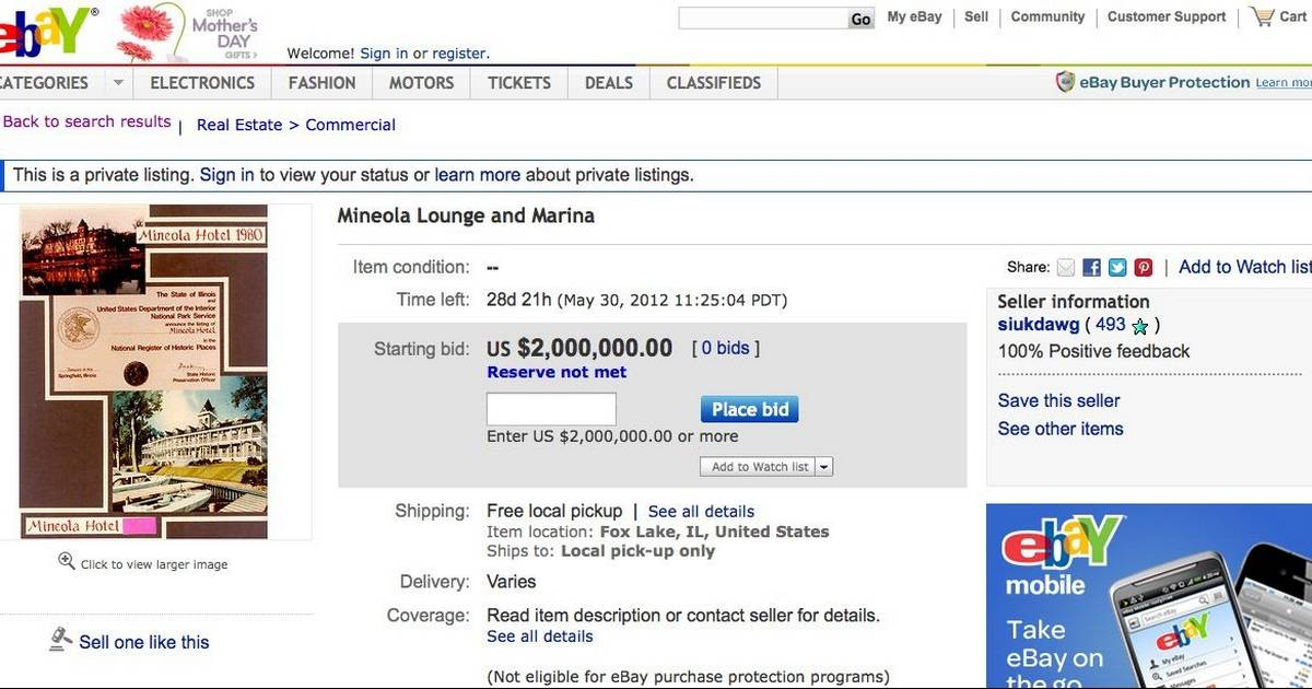 Mineola Doesn T Sell On Ebay But Still On The Market