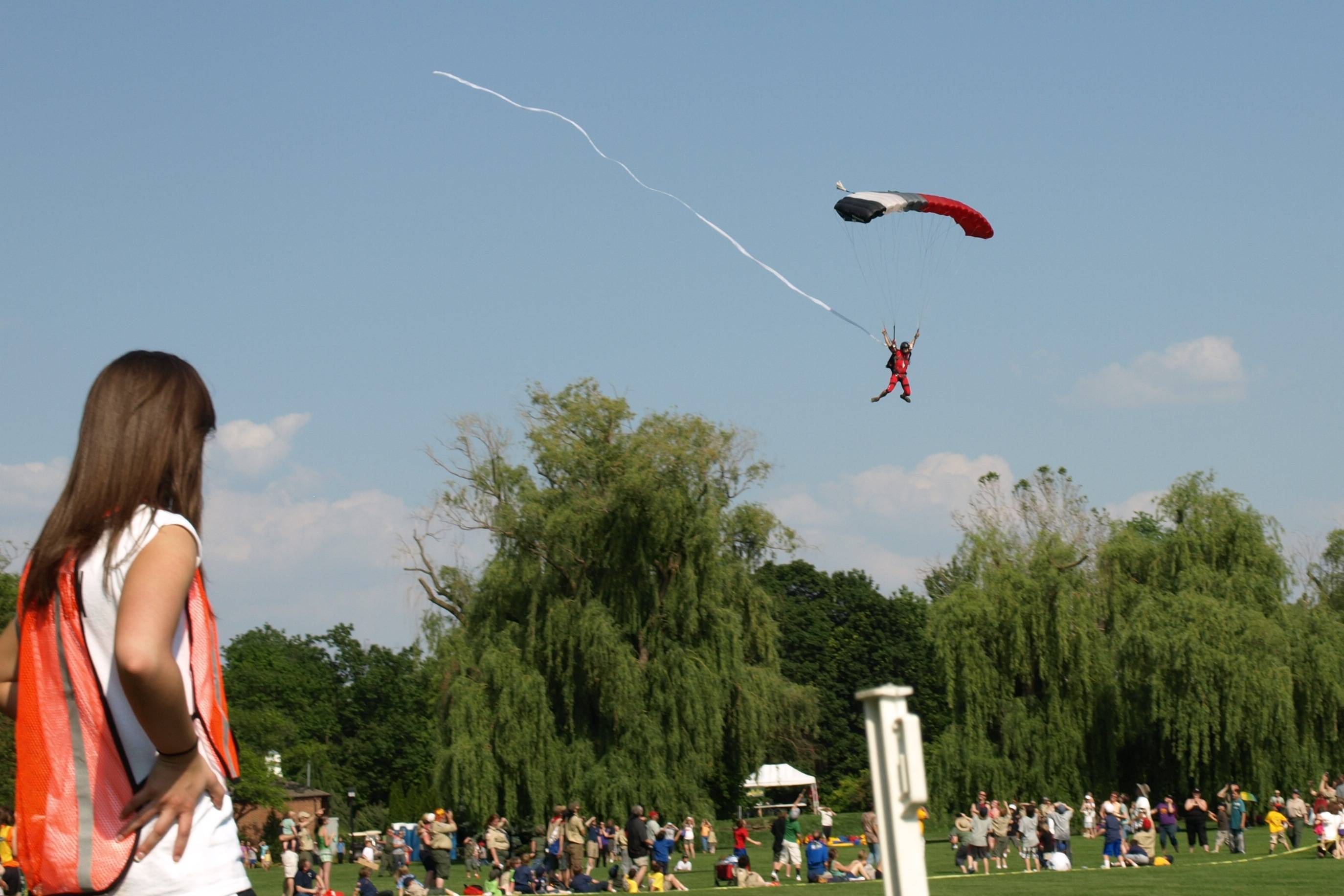 Chicagoland Skydiver Center parachutes on to main parade filed at Scout-O-Rama held at Cantigny Park.