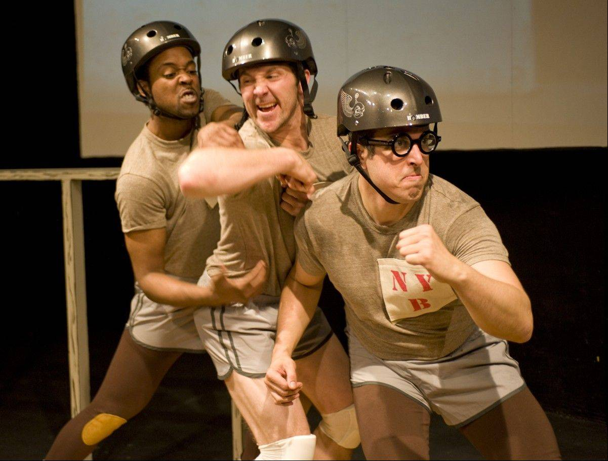 "Levenix Riddle, left, plays one of the members of an oddball roller derby team in Pine Box Theatre's ""The Jammer."""