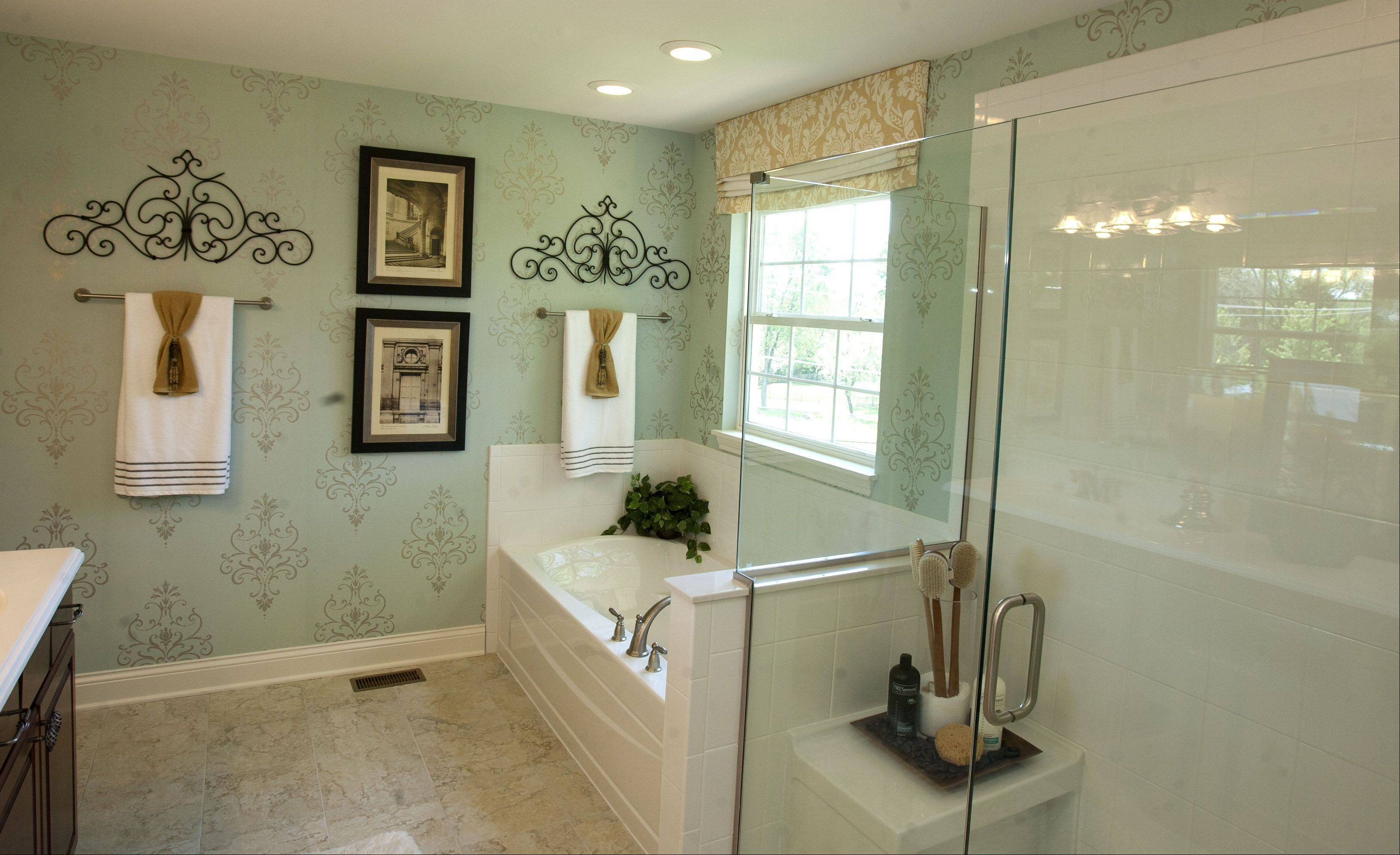 The bathroom in the Morton model at Glenrise Grove in Glen Ellyn.