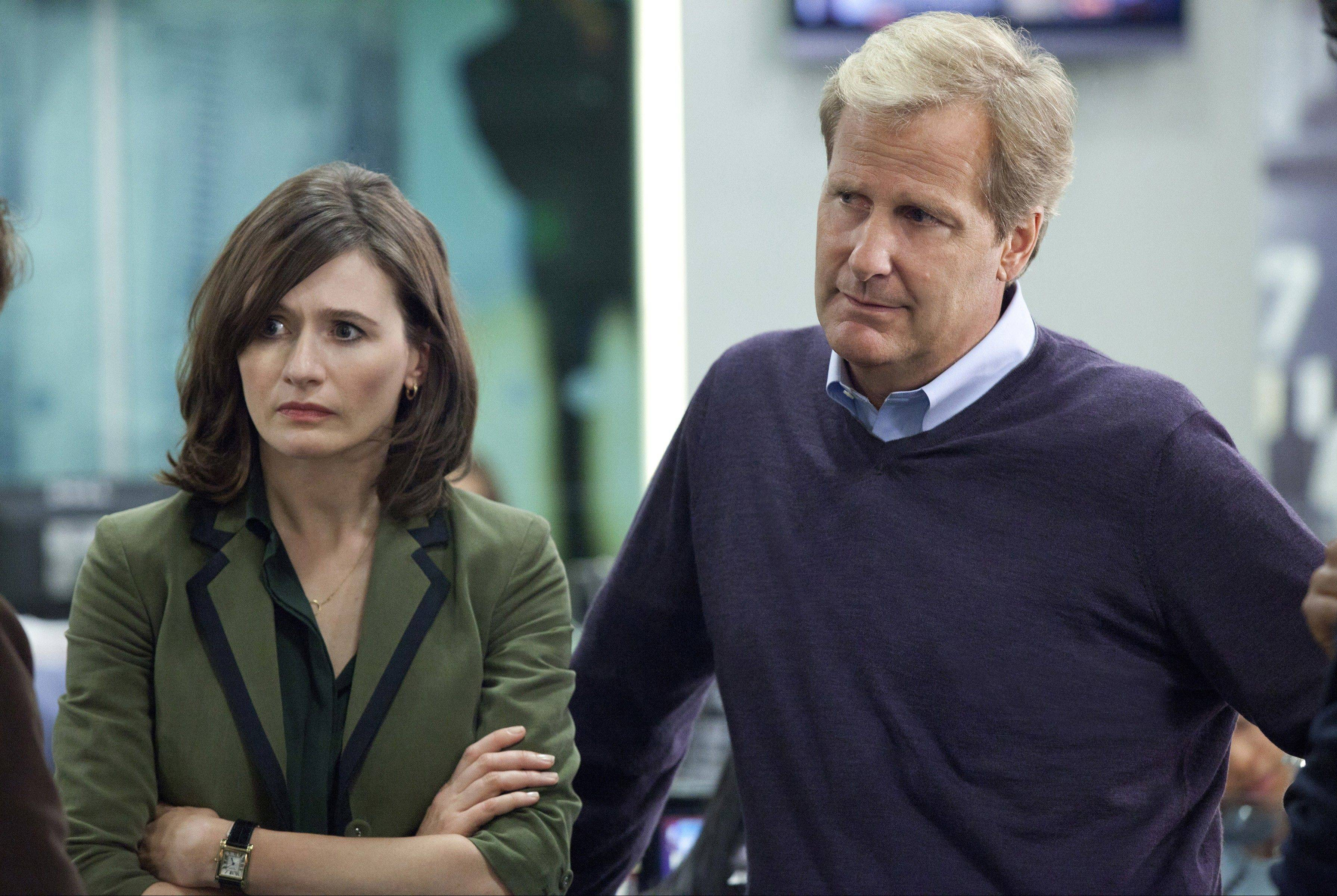 "Emily Mortimer and Jeff Daniels star in HBO's ""The Newsroom."""