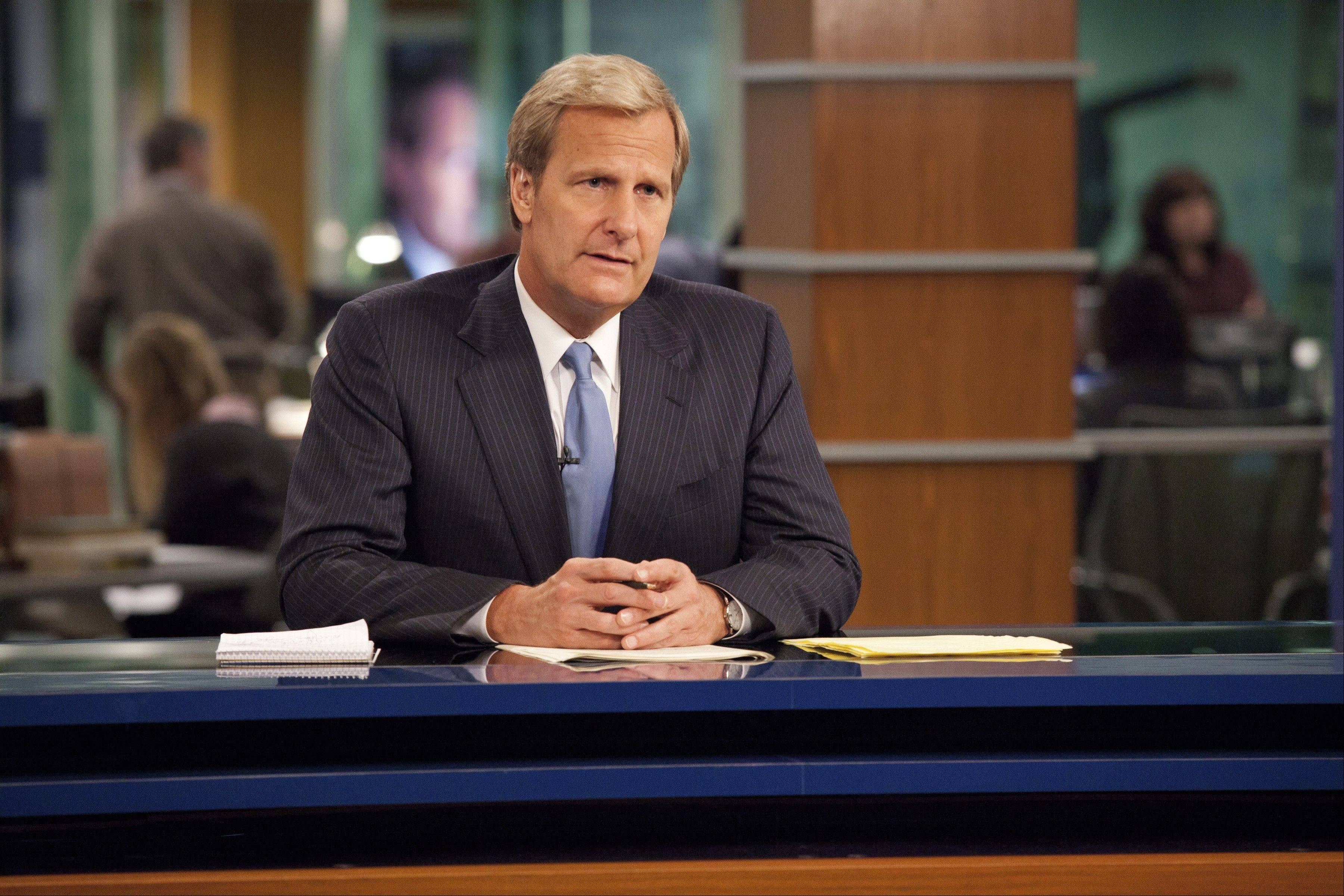 "Aaron Sorkin's ""The Newsroom,"" starring Jeff Daniels, goes behind the scenes at a nightly news show. It comes to HBO June 24."
