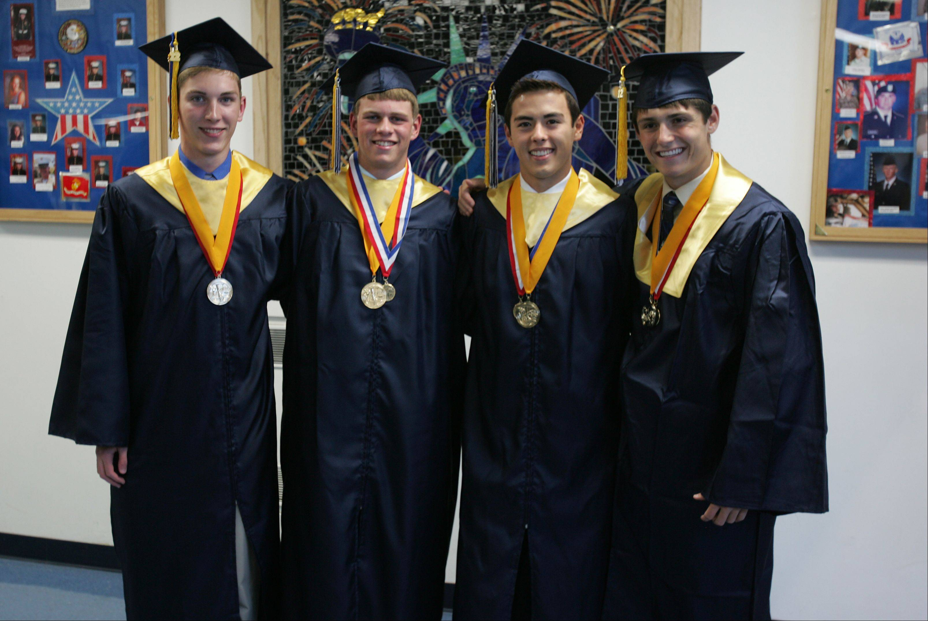 The four Lisle High School valedictorians are, Ryan Twaddle, Dylan Sinn, Matthias Howell and Robert Dean.