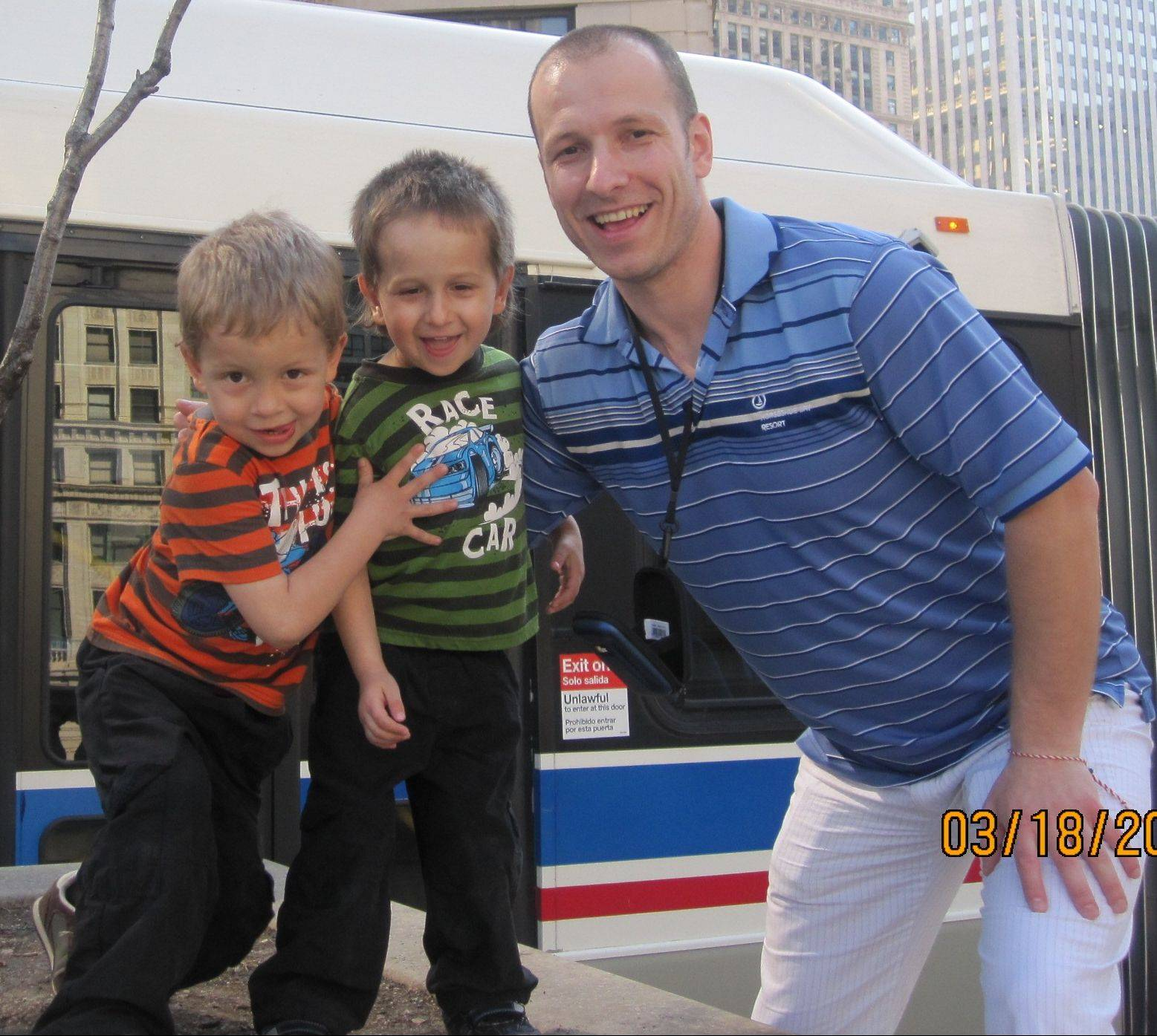 Kalin Koychev of Wheeling, pictured with his sons Kaloyan, 5, left, and Konstantin, 3, will donate one of his kidneys to Nathan Saavedra, 3.