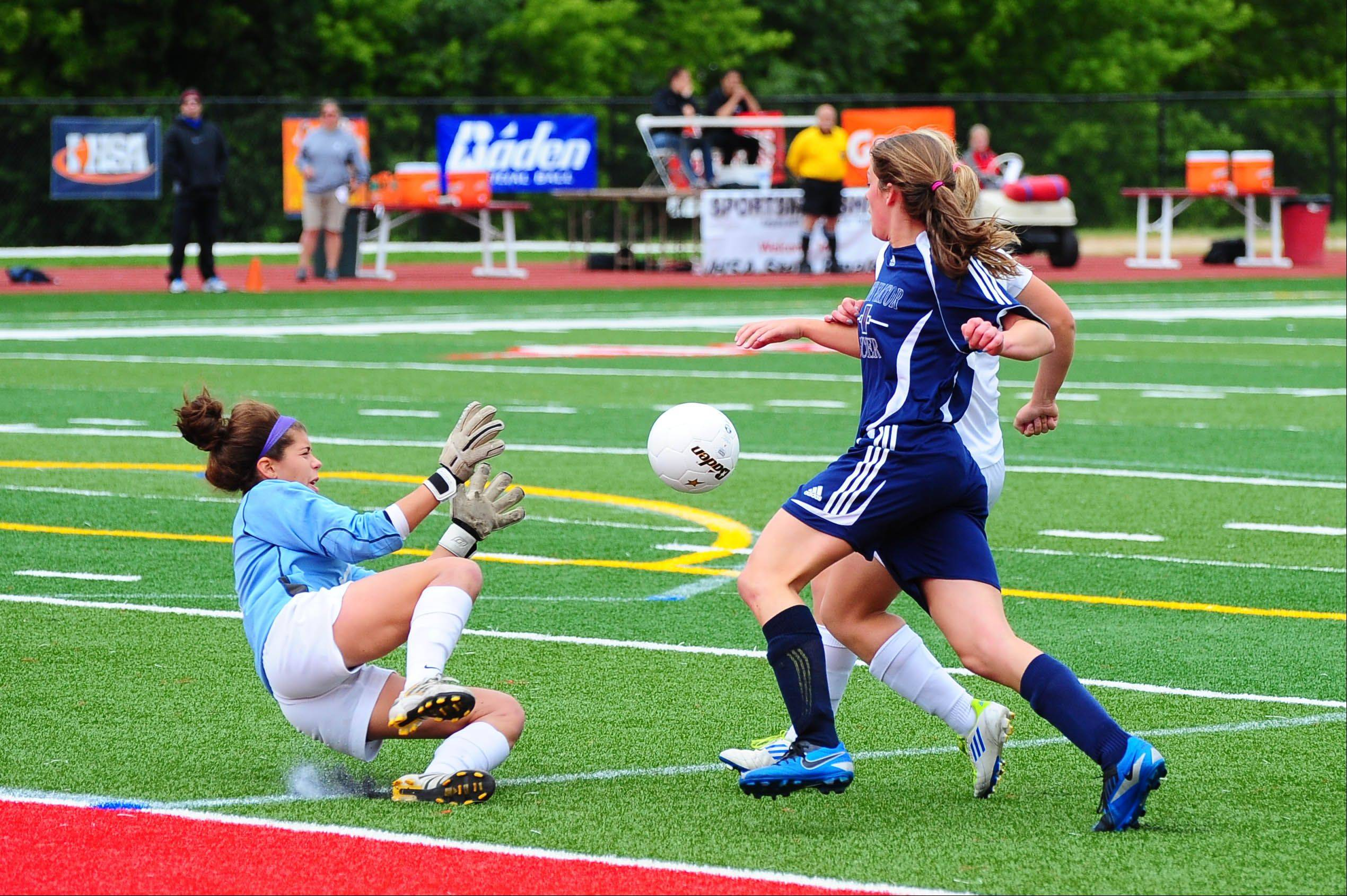 St. Viator goalie, Morgan Hess, dives for the ball during the girls soccer Class 2A semifinal on Friday.