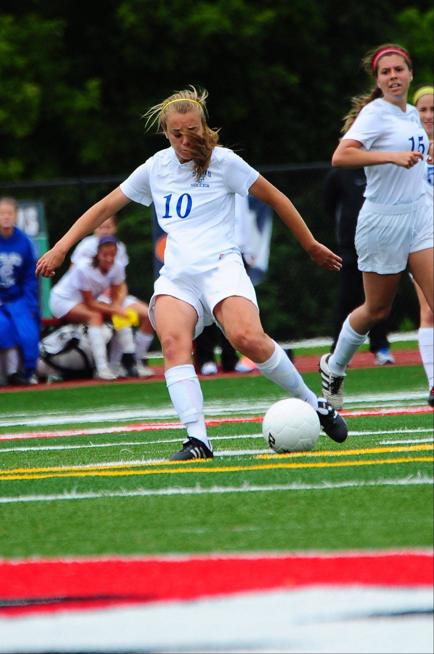 Amanda Gaggioli, the lone goal scorer during Friday's girls soccer Class 2A semifinal match between St. Francis and St. Viator, moves to put a shot on goal.