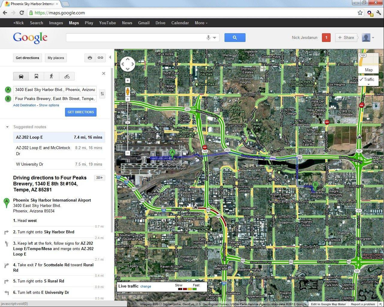 This screenshot shows driving directions from Phoenixís airport to a business in Tempe with traffic information on Google's website. The green sections represent areas without delays.