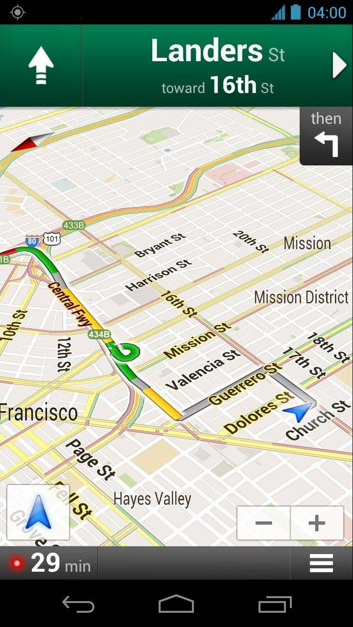 A screenshot provided by Google shows the Google Maps Navigation app for Android phones. It shows directions in San Francisco with traffic conditions in yellow and green.
