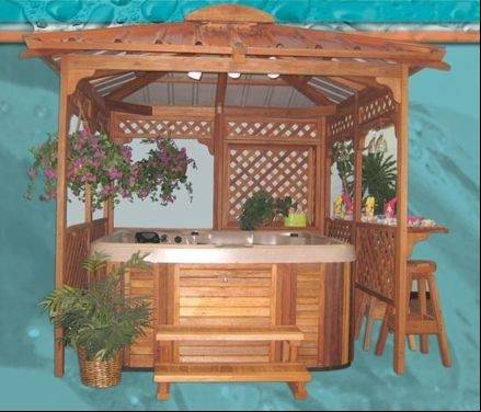 A gazebo can be built to surround your hot tub and increase privacy.