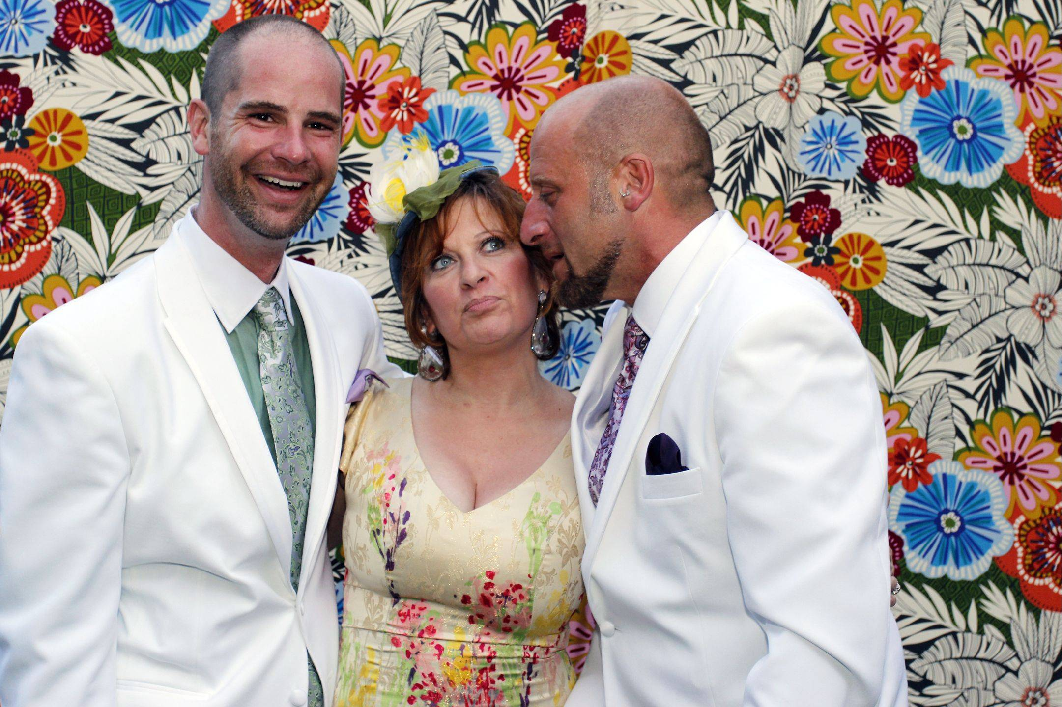 "Rich Lane, Caroline Manzo and Jaime Laurita pose for a picture at the couple's July 23, 2011, wedding. Manzo, Laurita's sister, is a cast member on ""The Real Housewives of New Jersey."""