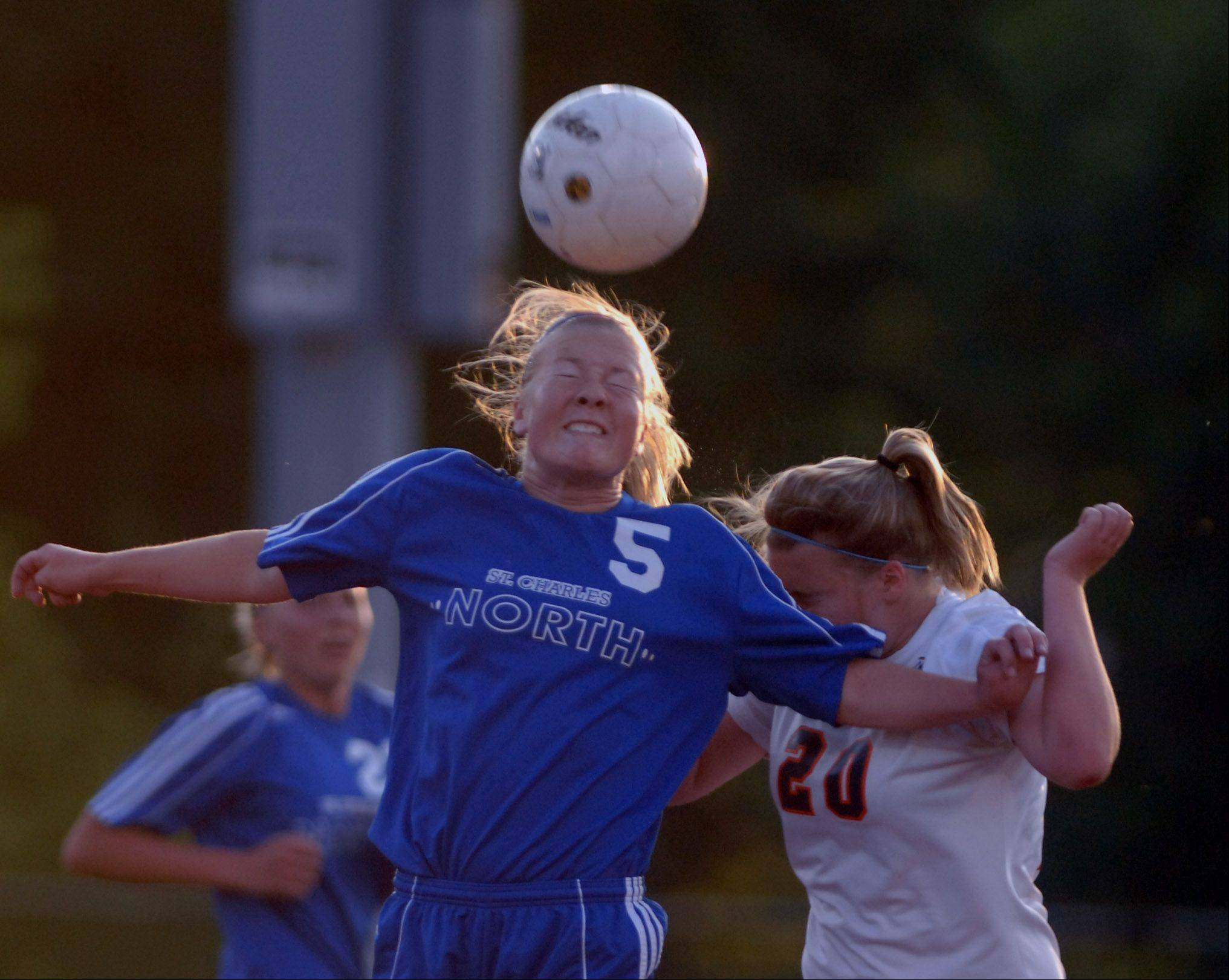 Natalie Winkates of St. Charles North heads the ball during the Class 3A girls championship game at North Central College.