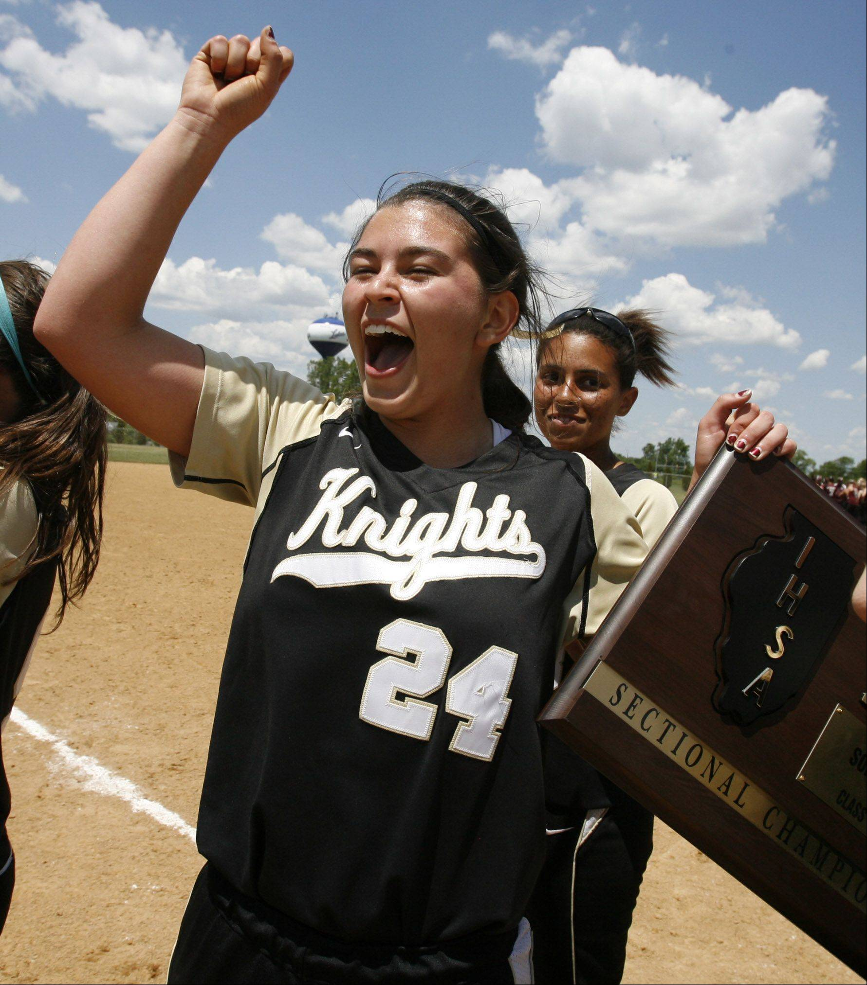 Grayslake North pitcher Kristina Gandy, celebrates winning the Class 3A Lakes softball sectional final against Prairie Ridge in Lake Villa on Saturday.
