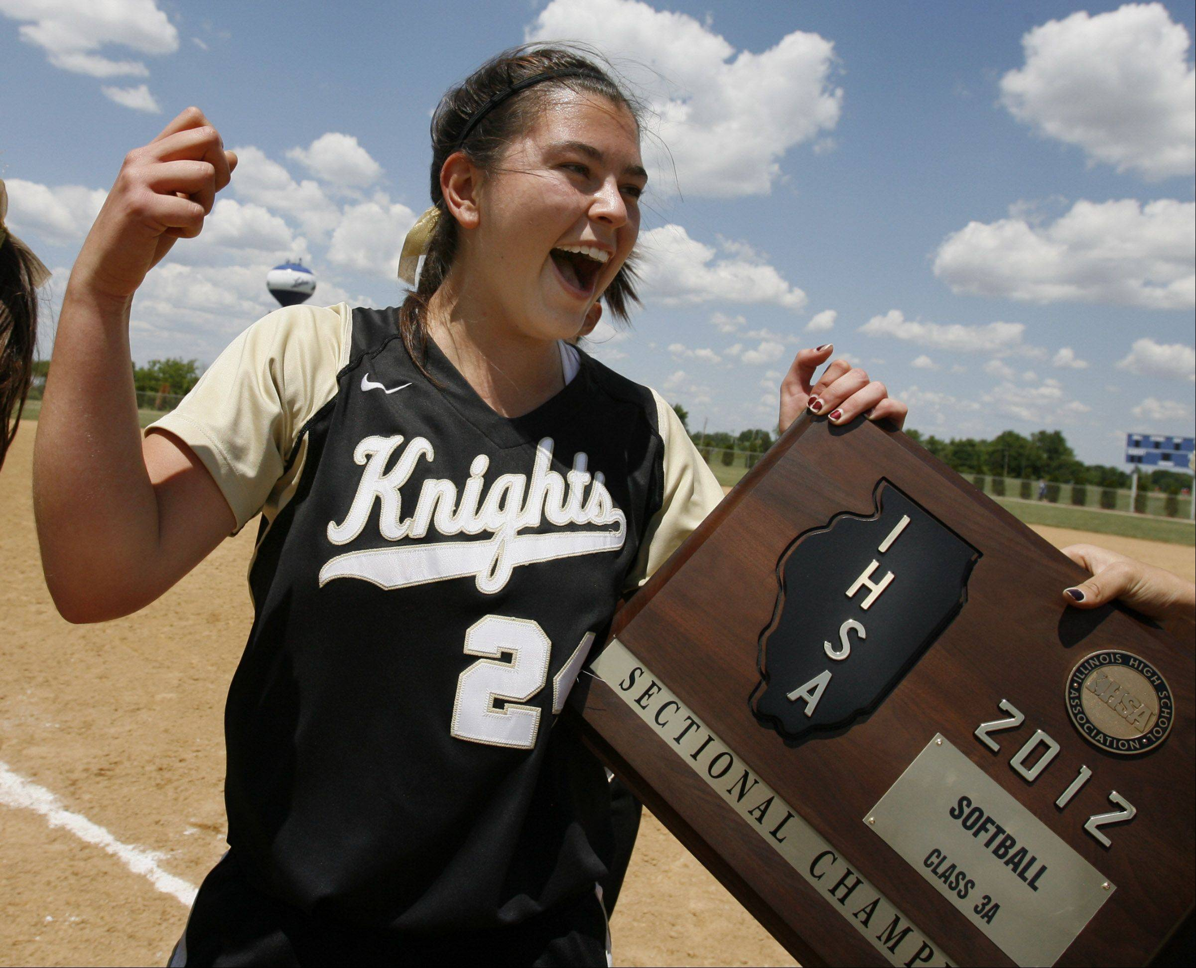Grayslake North pitcher Kristina Gandy, celebrates winning Class 3A Lakes softball sectional final against Prairie Ridge in Lake Villa on Saturday.