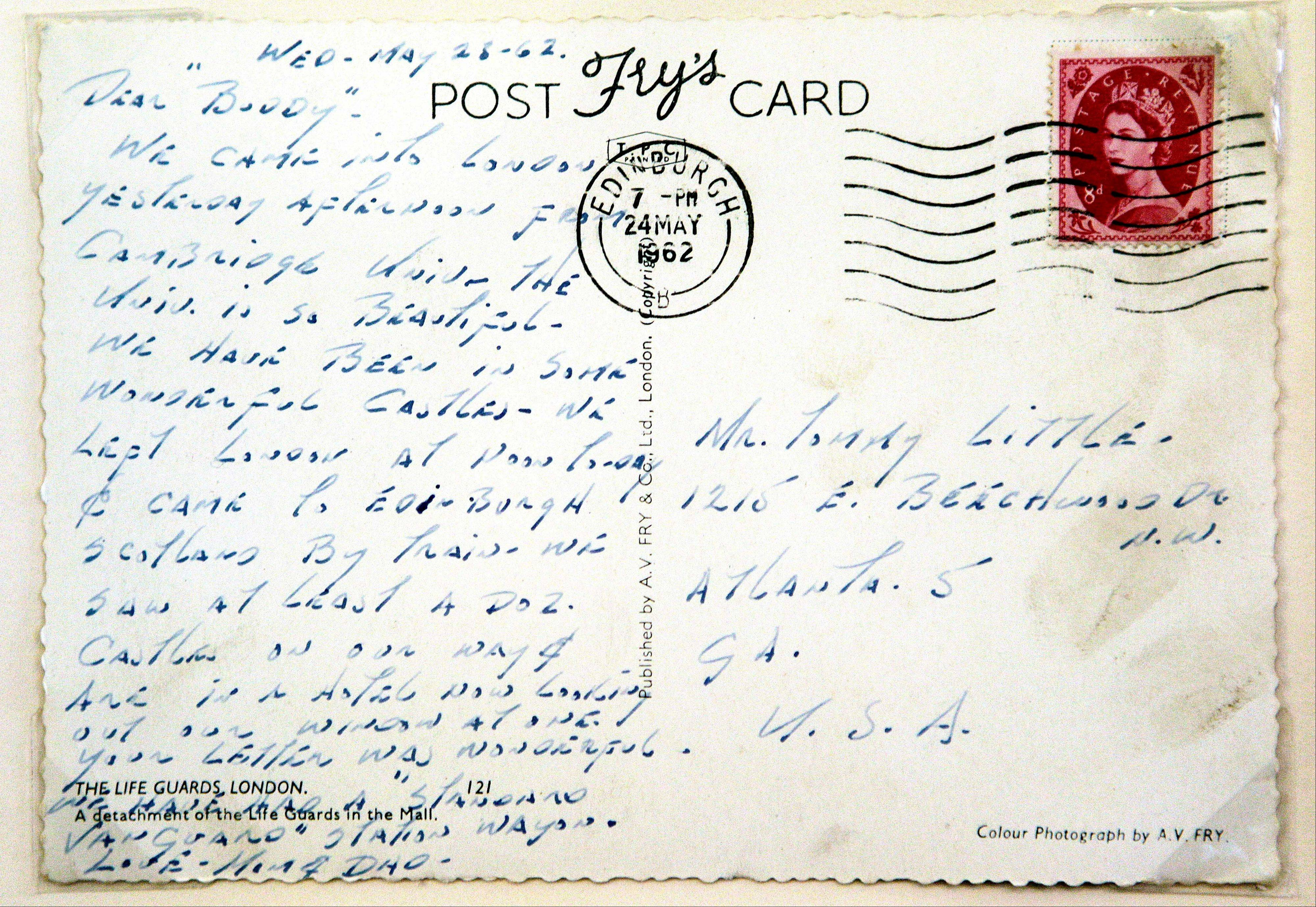 This May 17, 2012 photo shows a postcard sent fifty years ago to Tom Little Jr. from his mother Charlotte as she traveled with a group of Atlantaís cultural leaders to Europe to tour the sights and demonstrate the ascendant southern city's commitment to culture, in Roswell, Ga. Little was 12 when his parents were killed aboard a returning chartered Air France plane carrying a group of Atlantaís cultural leaders that crashed on takeoff at Orly Field in Paris in 1962.