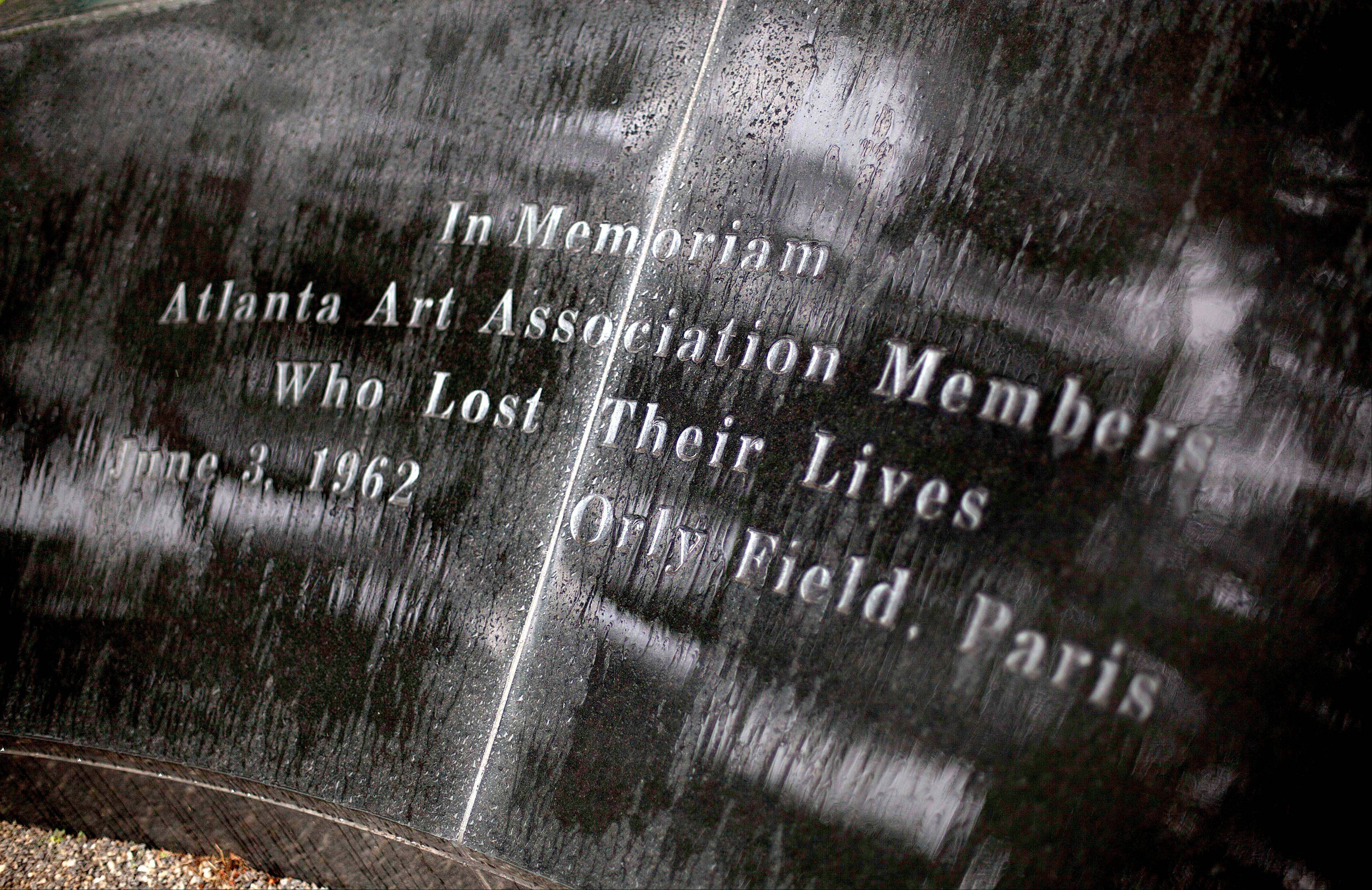 This May 9, 2012 photo shows a memorial to the victims of the June 3, 1962 plane crash at Orly Field in Paris that killed 100 of Atlanta's cultural leaders, at the High Museum of Art in Atlanta.