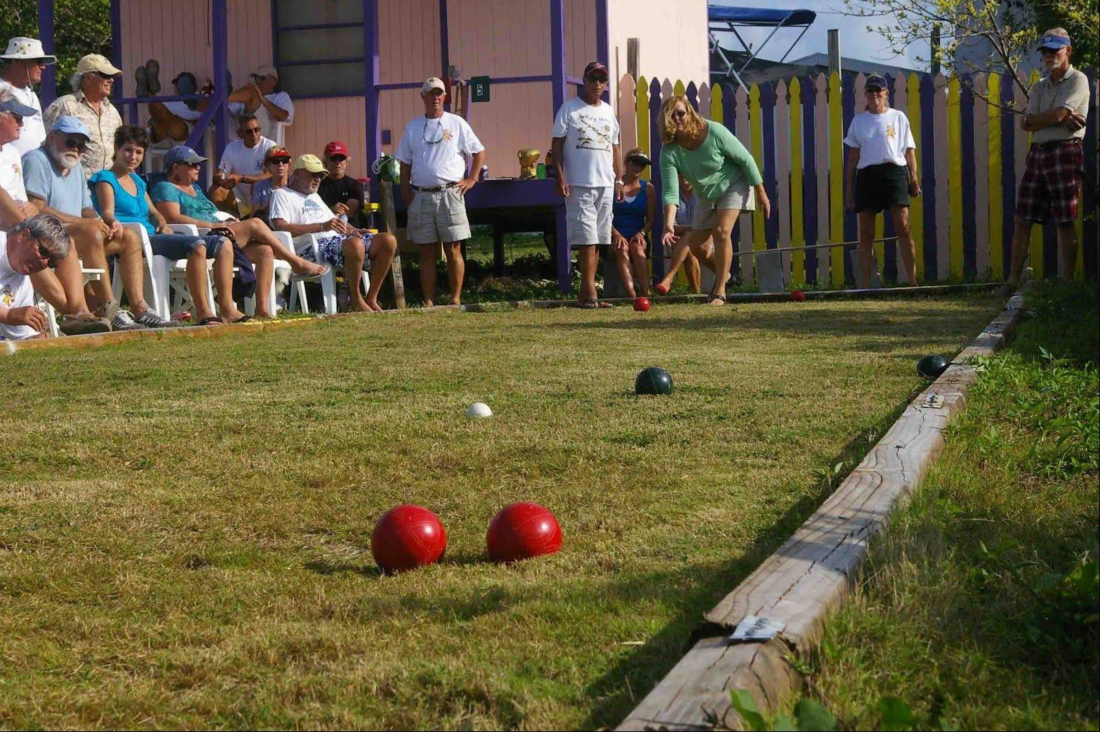 The side of the deck is a great place for an activity area, such as a bocce court.