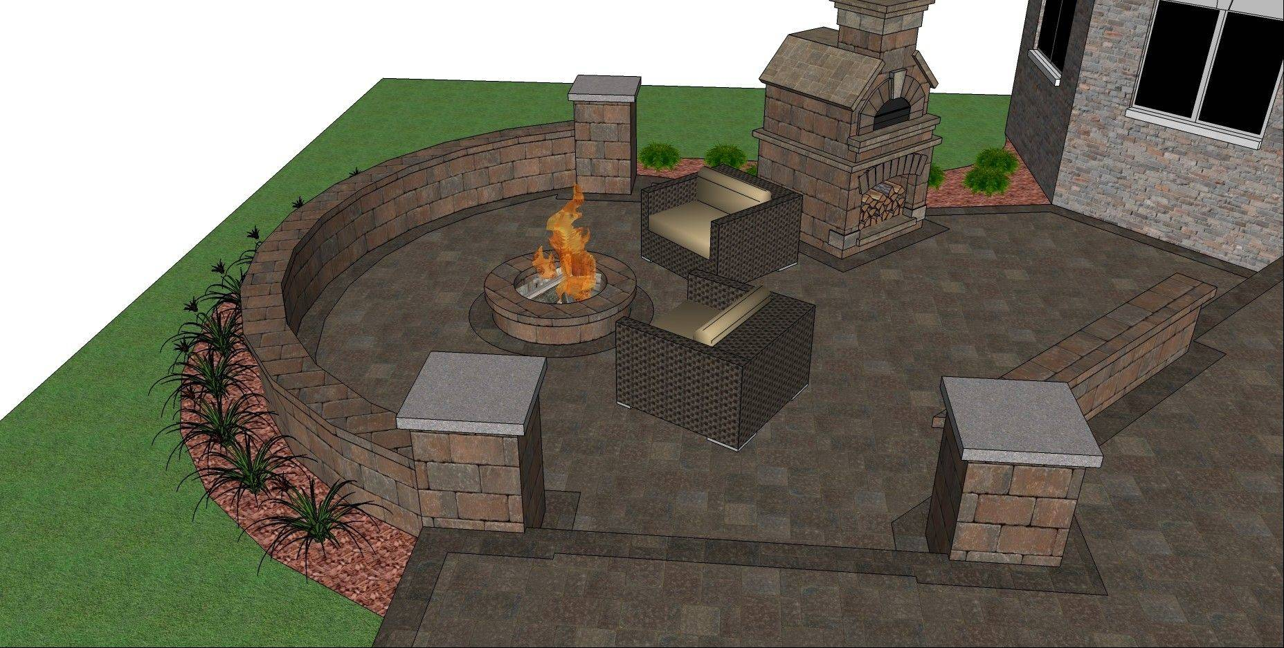 A flat patio leading into a separate area with a seat wall surrounding a fire pit and optional brick oven will create a space for relaxing and entertaining.