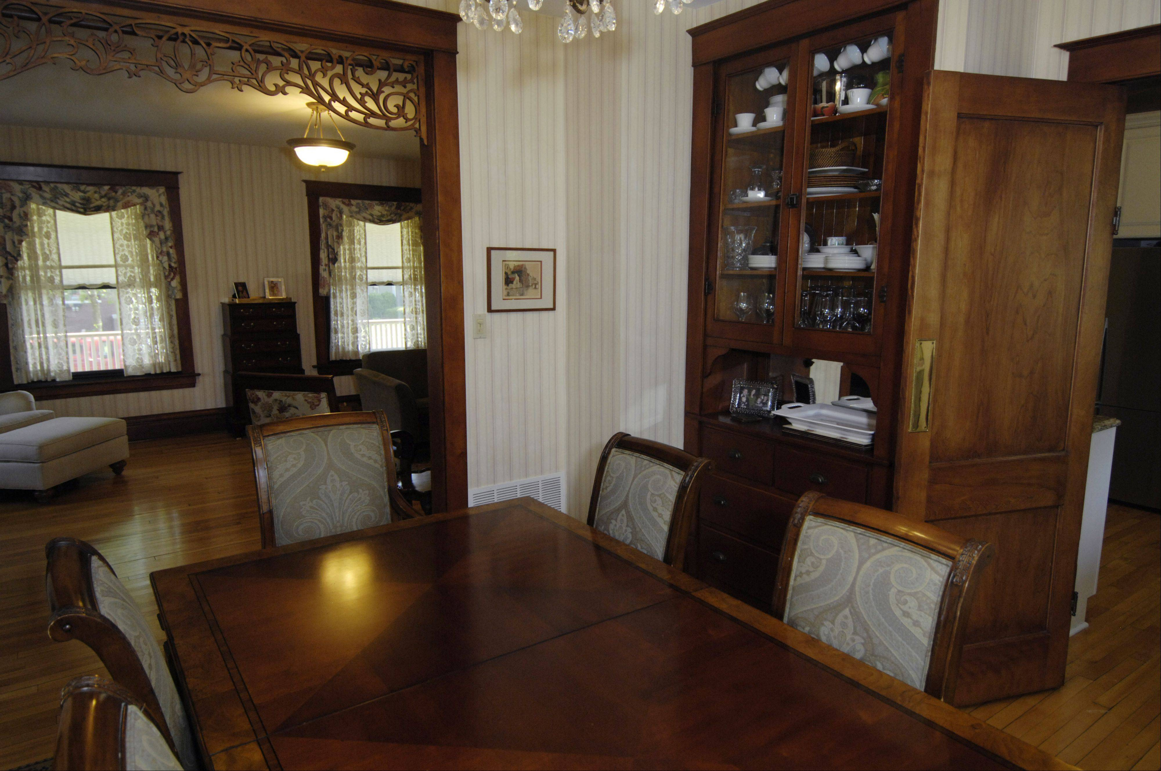 Jessica Braun likes the built-ins of her Arlington Heights home, such as this china cabinet in the dining room.