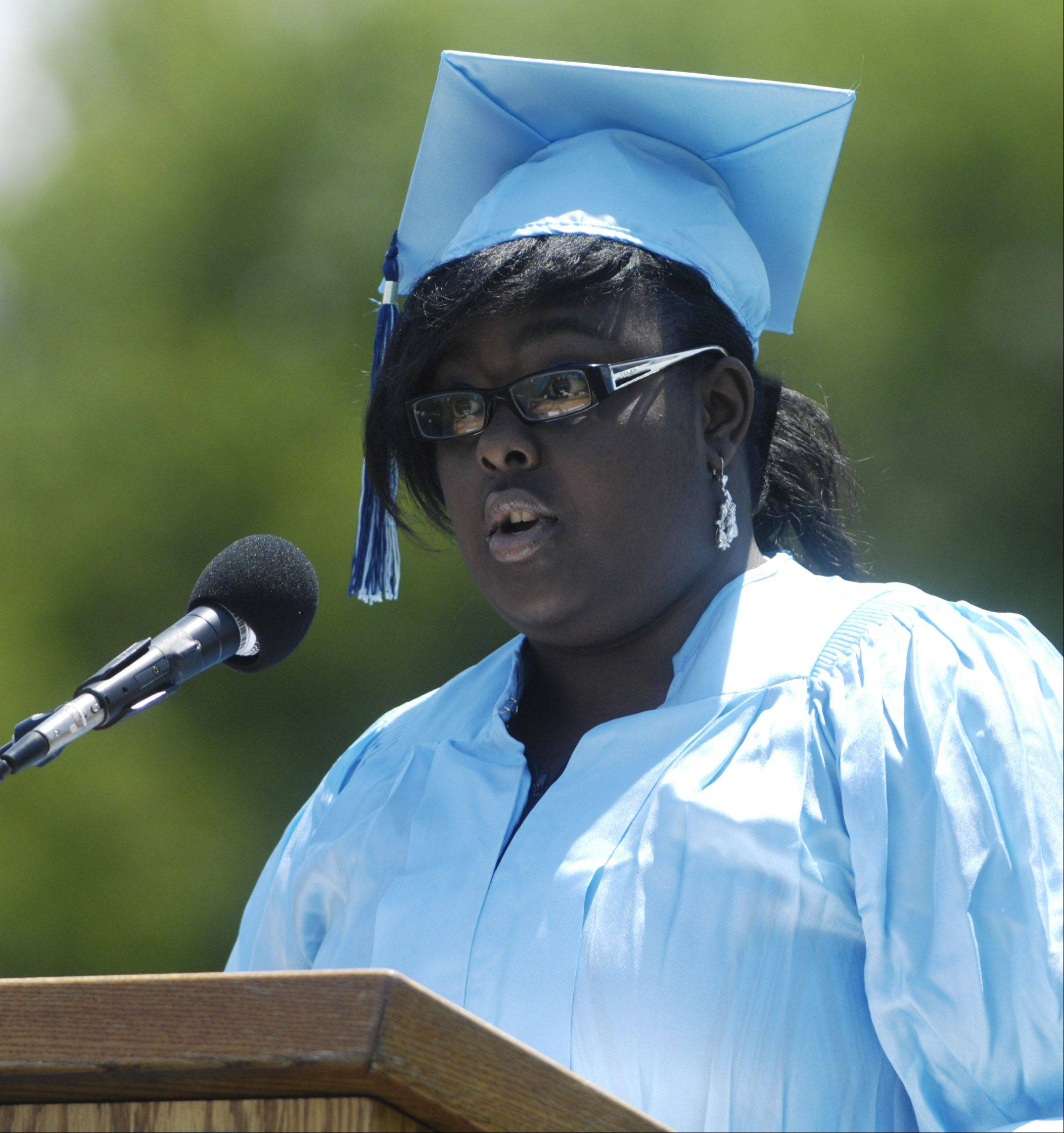 Sidney Powell speaks during Prospect High School's graduation on Sunday.