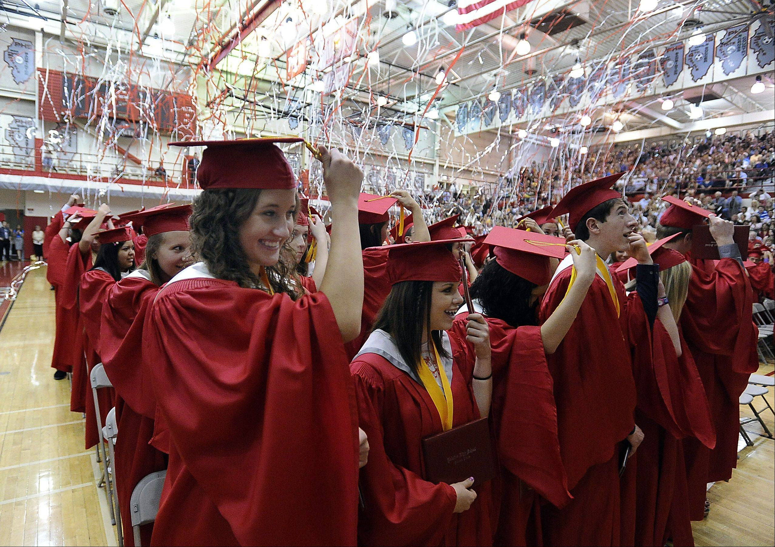 Anna Baran moves her tassel during Palatine High School's graduation ceremony on Sunday.