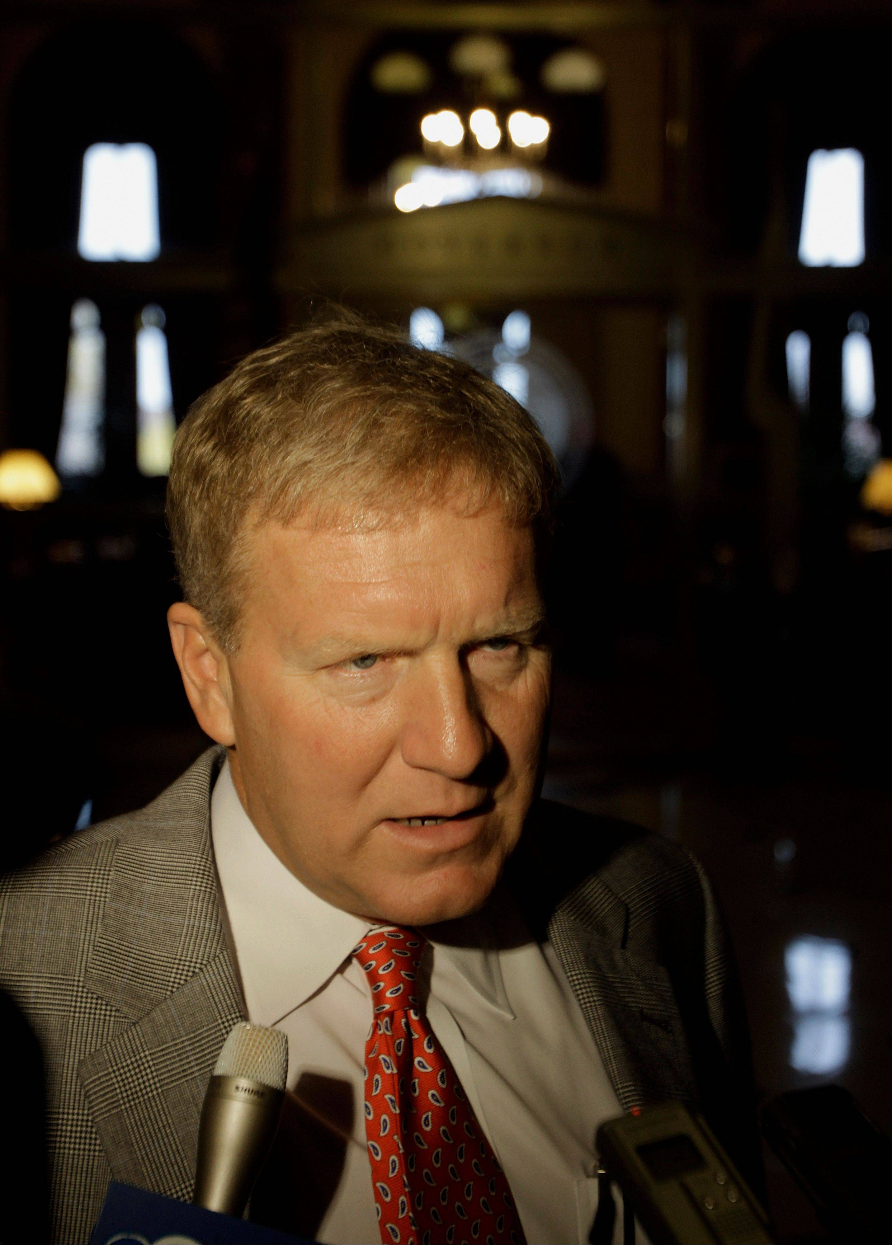 Illinois House Minority Leader Tom Cross, R-Oswego, speaks with reporters after meeting with Illinois Gov. Pat Quinn during veto session at the Illinois State Capitol Tuesday, Nov. 8, 2011 in Springfield, Ill. Proposals and counter proposals swirl through the state Capitol as lawmakers try to figure out what they can accomplish on a long list of topics.