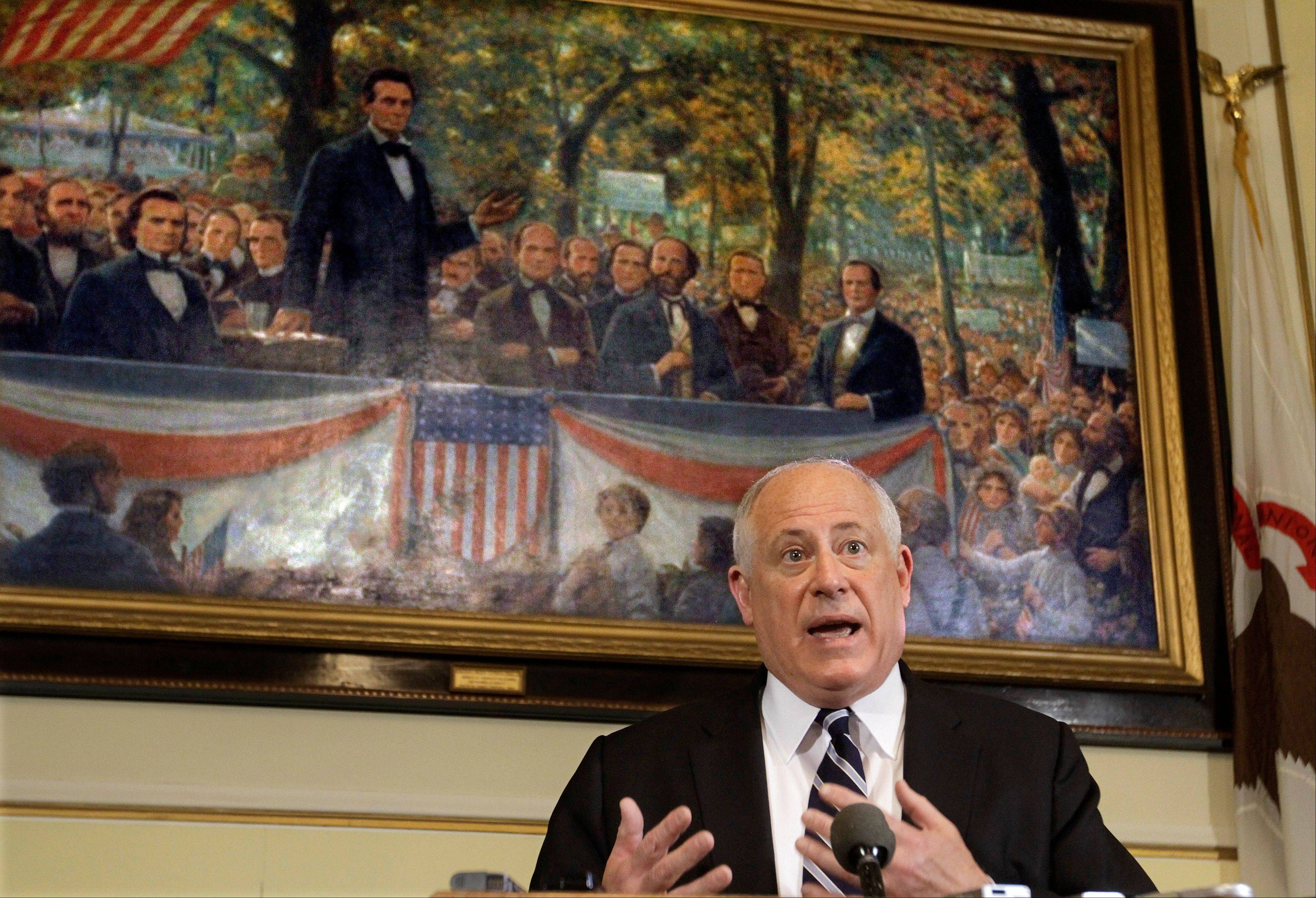 Illinois Gov. Pat Quinn speaks with reporters in his office at the Illinois State Capitol Friday, June 1, 2012 in Springfield, Ill. Quinn responds to lawmakers challenging him once again with legislation that would expand gambling across the state, the failure to pass pension reforms and how lawmakers dealt with two measures affecting the state's overcrowded prisons.