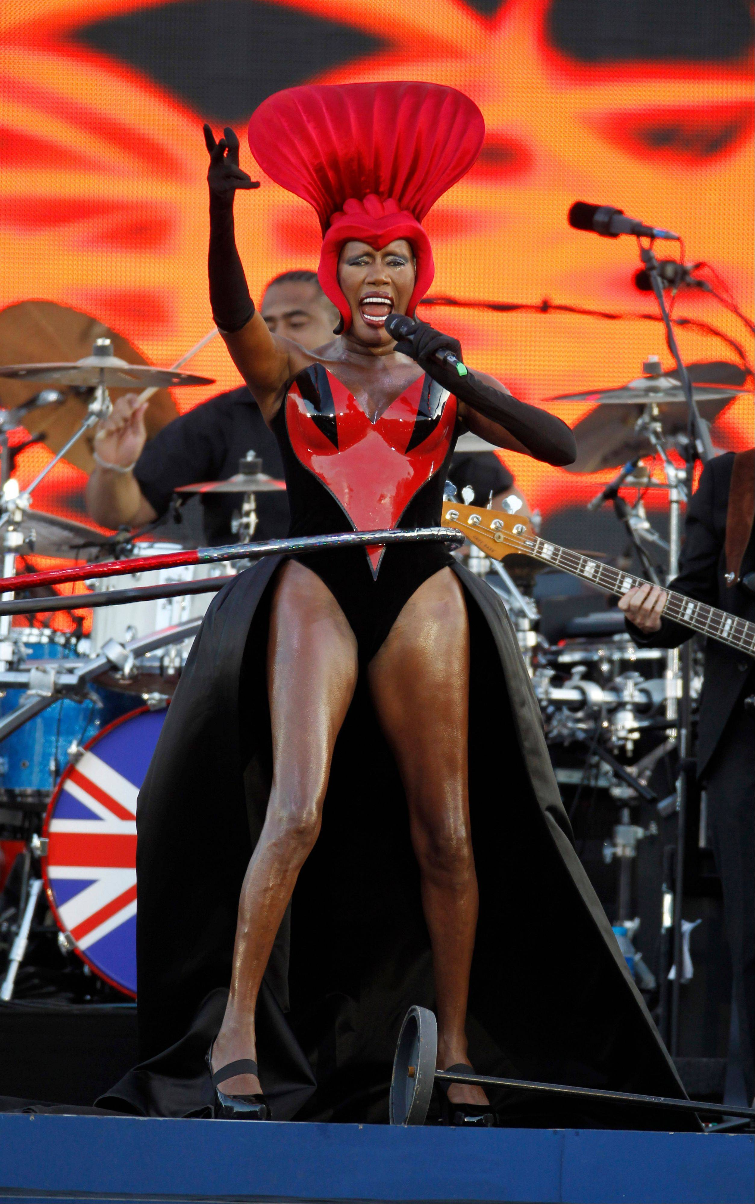 Grace Jones performs at the Queen's Jubilee Concert in front of Buckingham Palace, London, Monday, June 4, 2012. The concert is a part of four days of celebrations to mark the 60-year reign of Britain's Queen Elizabeth II.