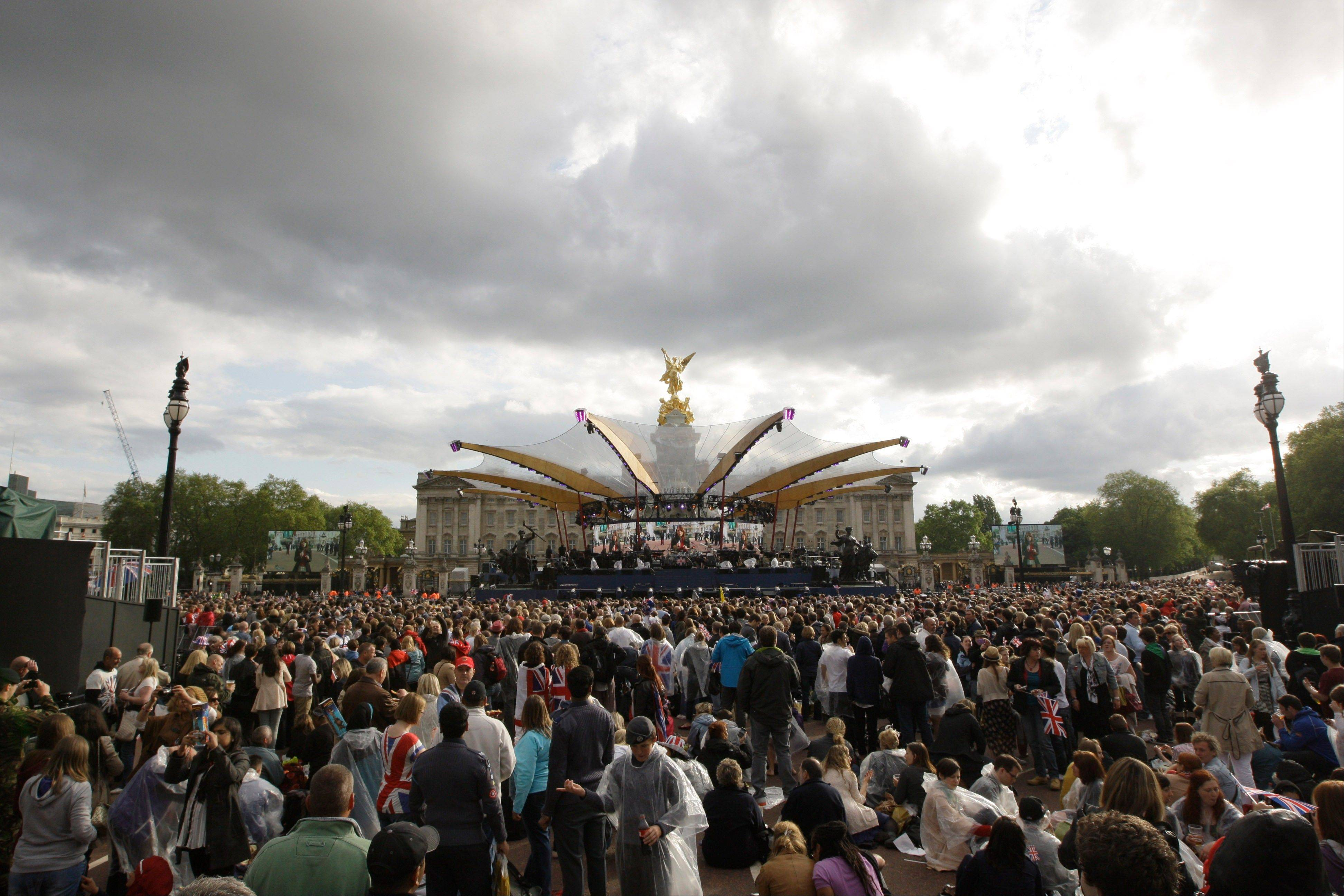A view of the stage prior to the Queen's Jubilee Concert in front of Buckingham Palace, London, Monday, June 4, 2012. The concert is a part of four days of celebrations to mark the 60-year reign of Britain's Queen Elizabeth II.