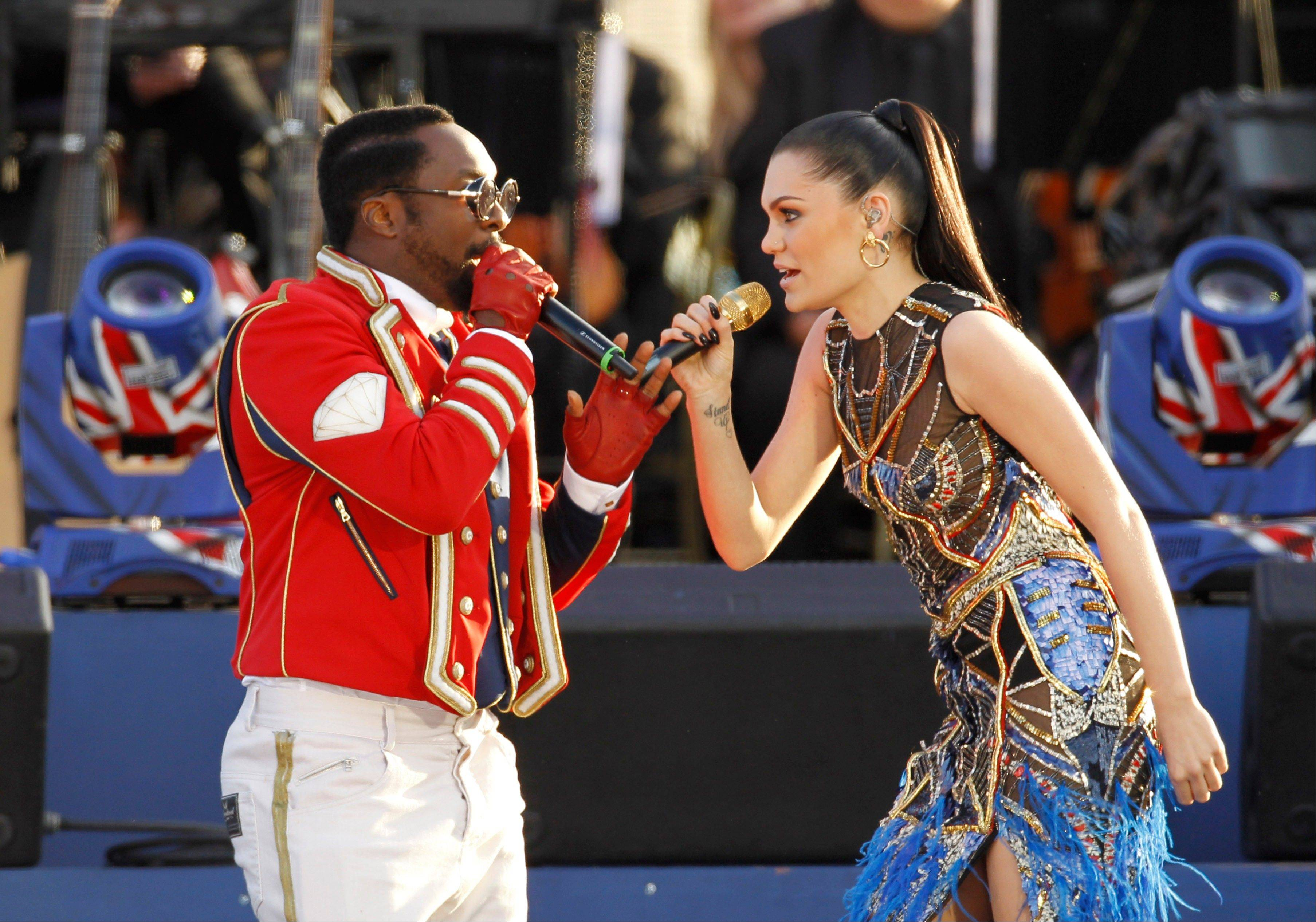 Will.I.am and Jessie J perform at the Queen's Jubilee Concert in front of Buckingham Palace, London, Monday, June 4, 2012. The concert is a part of four days of celebrations to mark the 60-year reign of Britain's Queen Elizabeth II.