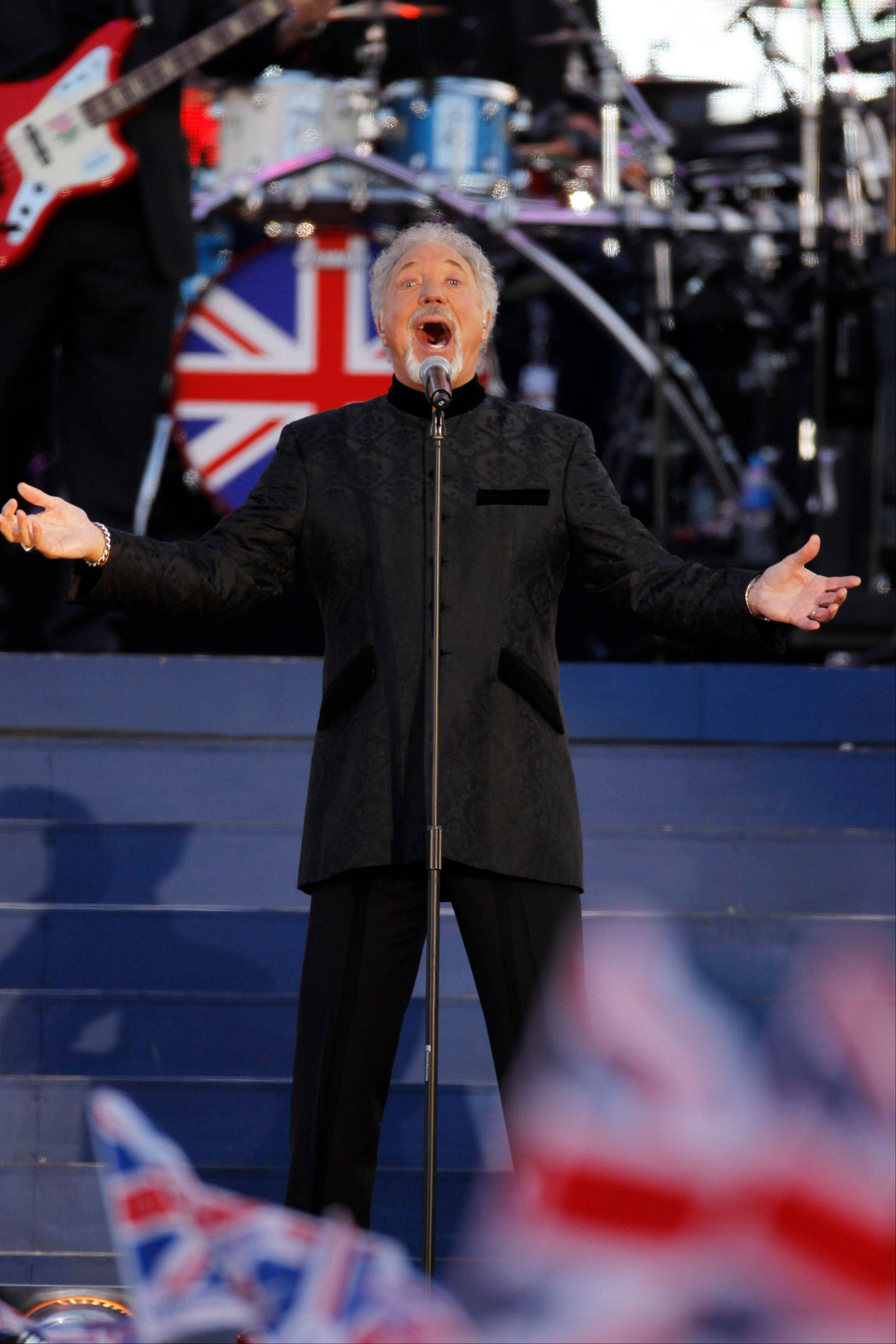 Sir Tom Jones performs at the Queen's Jubilee Concert in front of Buckingham Palace, London, Monday, June 4, 2012. The concert is a part of four days of celebrations to mark the 60-year reign of Britain's Queen Elizabeth II.