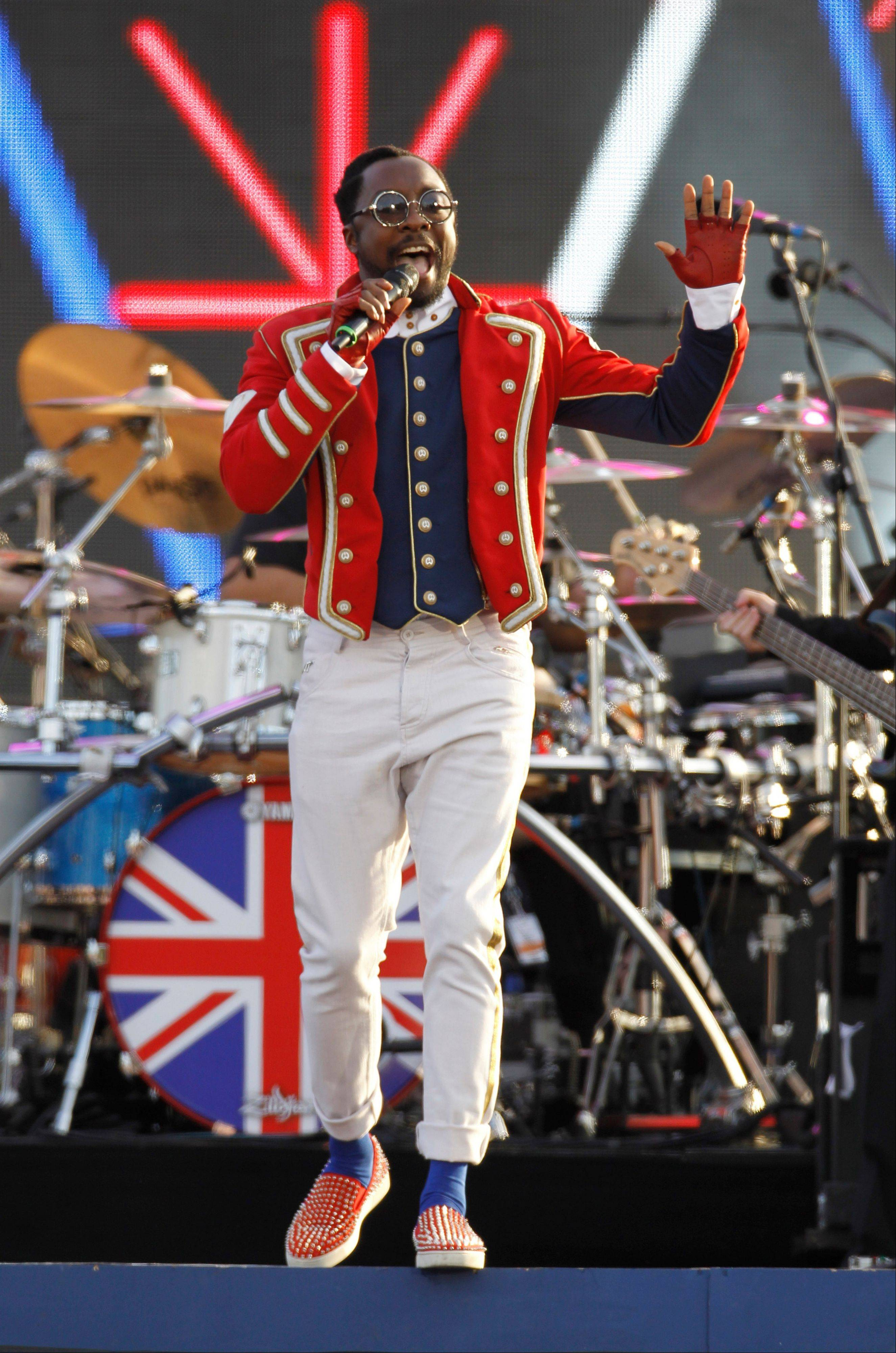 Will.I.am performs at the Queen's Jubilee Concert in front of Buckingham Palace, London, Monday, June 4, 2012. The concert is a part of four days of celebrations to mark the 60-year reign of Britain's Queen Elizabeth II.