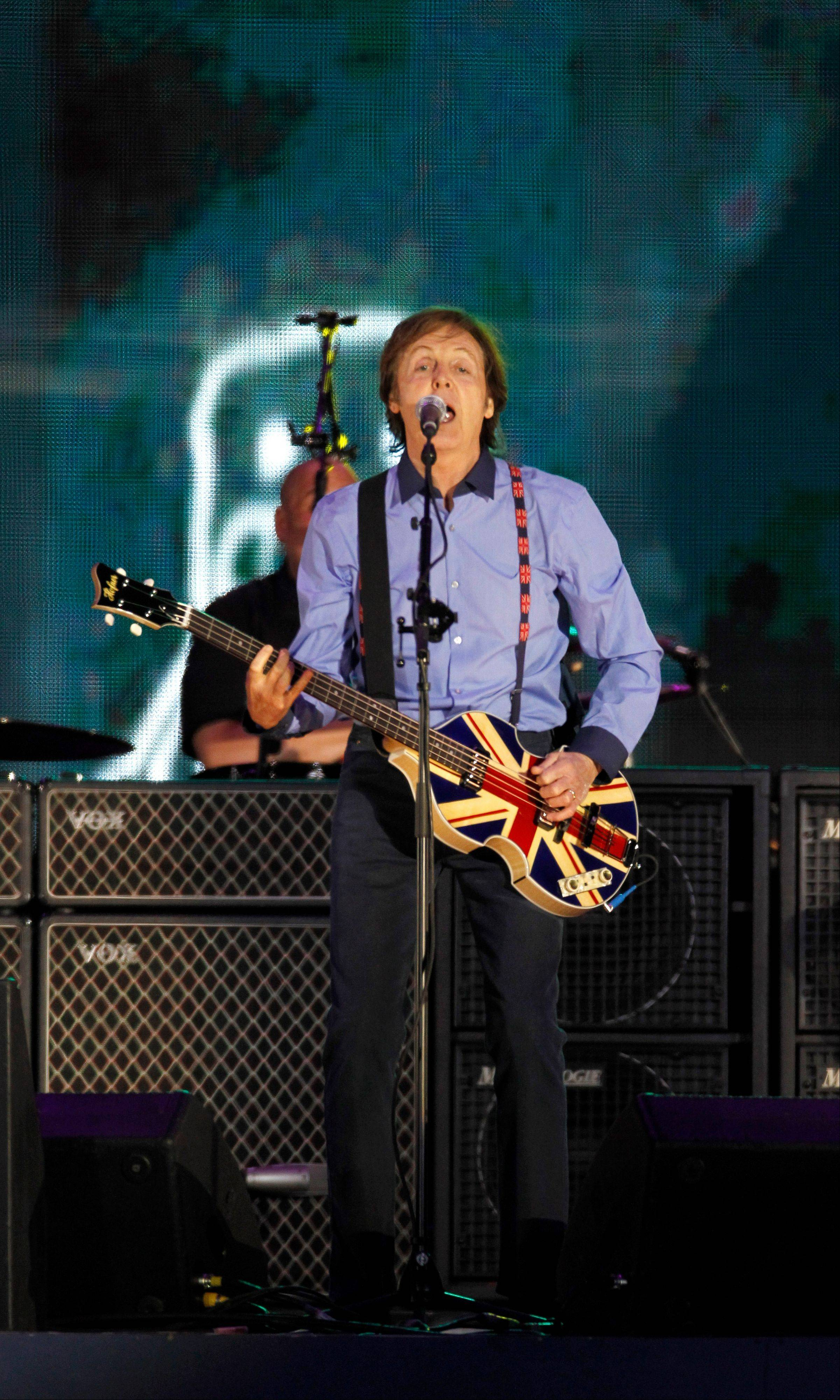 Sir Paul McCartney performs at the Queen's Jubilee Concert in front of Buckingham Palace, London, Monday, June 4, 2012. The concert is a part of four days of celebrations to mark the 60-year reign of Britain's Queen Elizabeth II.