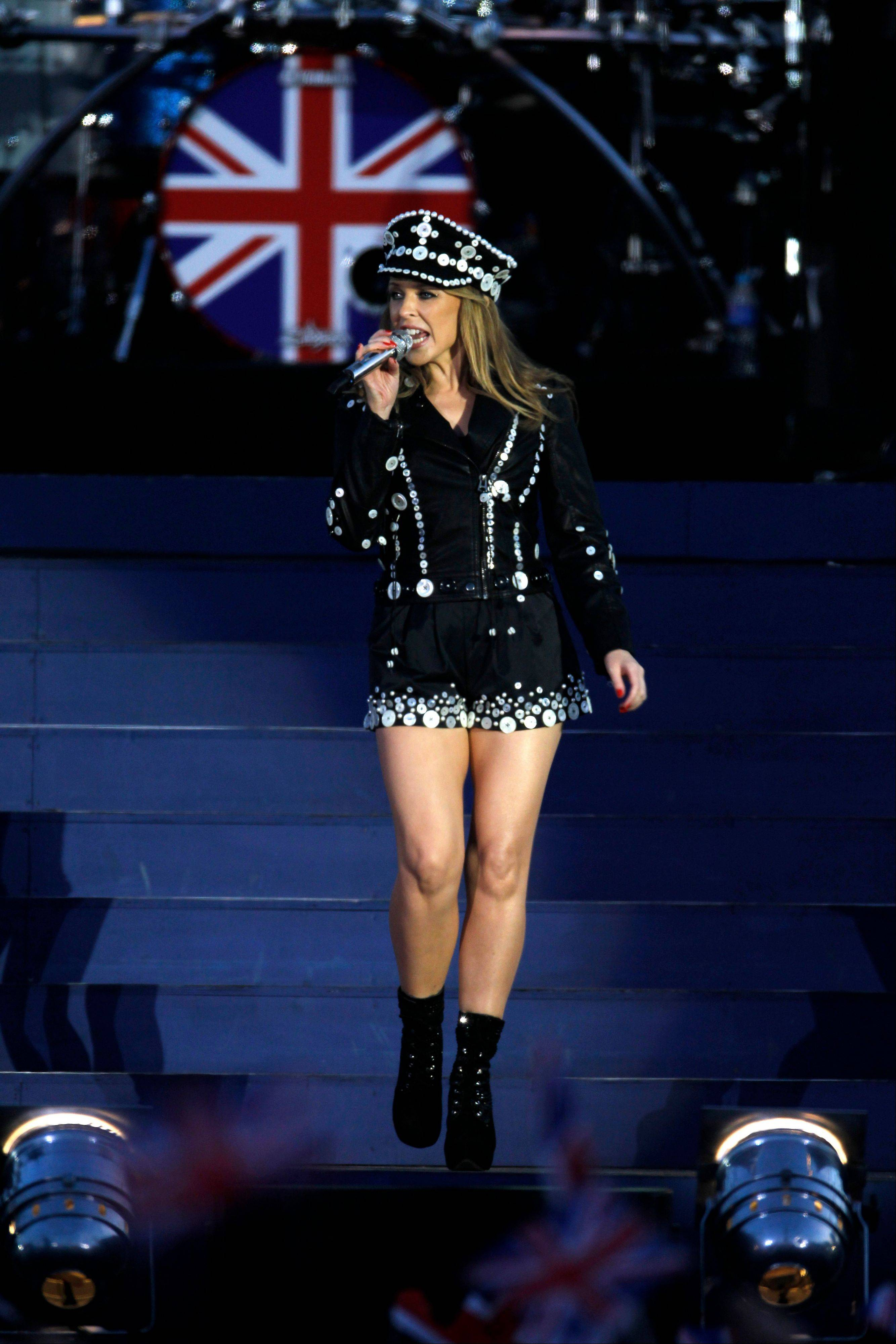 Kylie Minogue performs at the Queen's Jubilee Concert in front of Buckingham Palace, London, Monday, June 4, 2012. The concert is a part of four days of celebrations to mark the 60-year reign of Britain's Queen Elizabeth II.