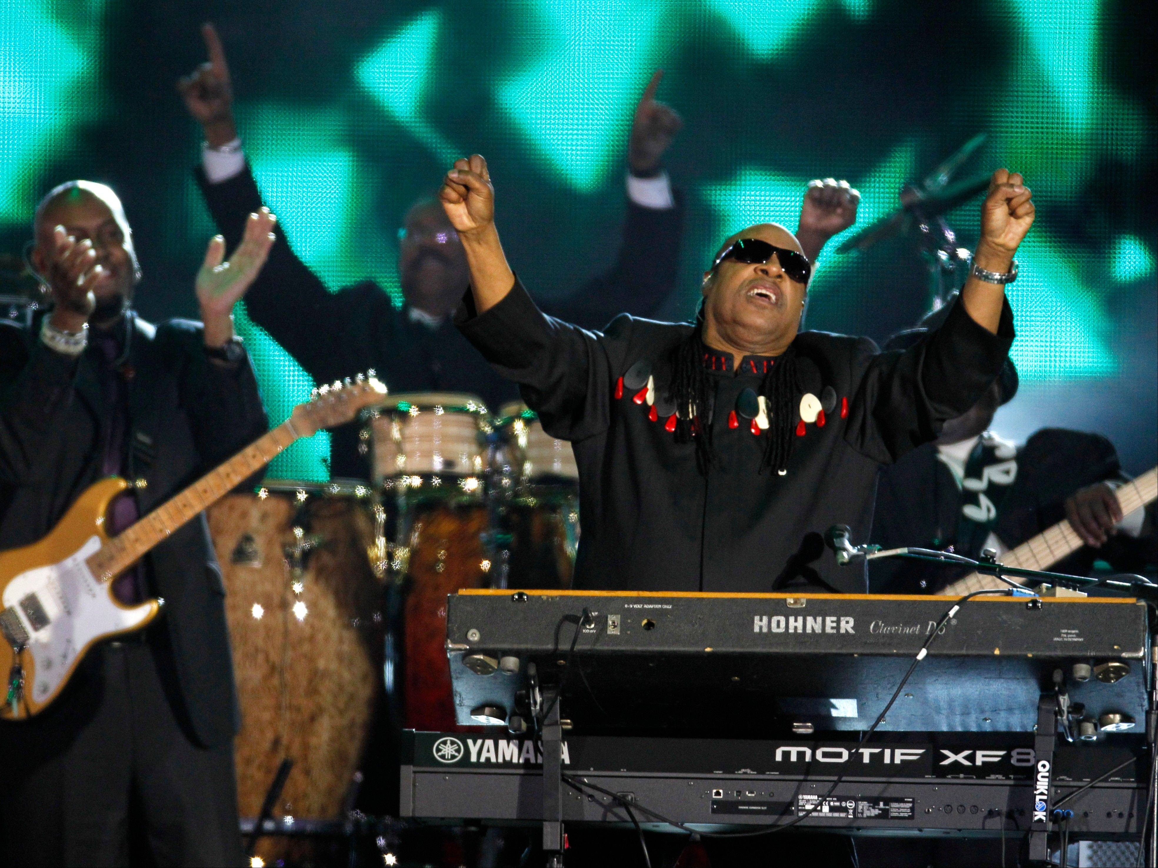 Stevie Wonder performs at the Queen's Jubilee Concert in front of Buckingham Palace, London, Monday, June 4, 2012. The concert is a part of four days of celebrations to mark the 60-year reign of Britain's Queen Elizabeth II.