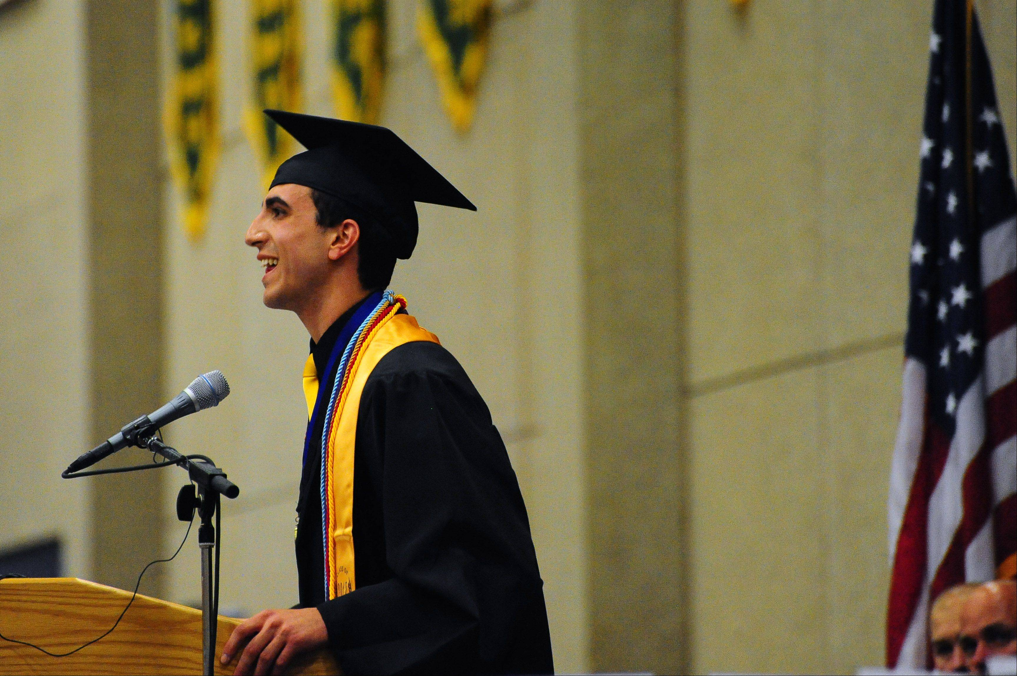 Michael Fagan delivers the commencement address to his fellow graduates during the 2012 Glenbard North High School commencement ceremony held at the College of DuPage on Sunday.
