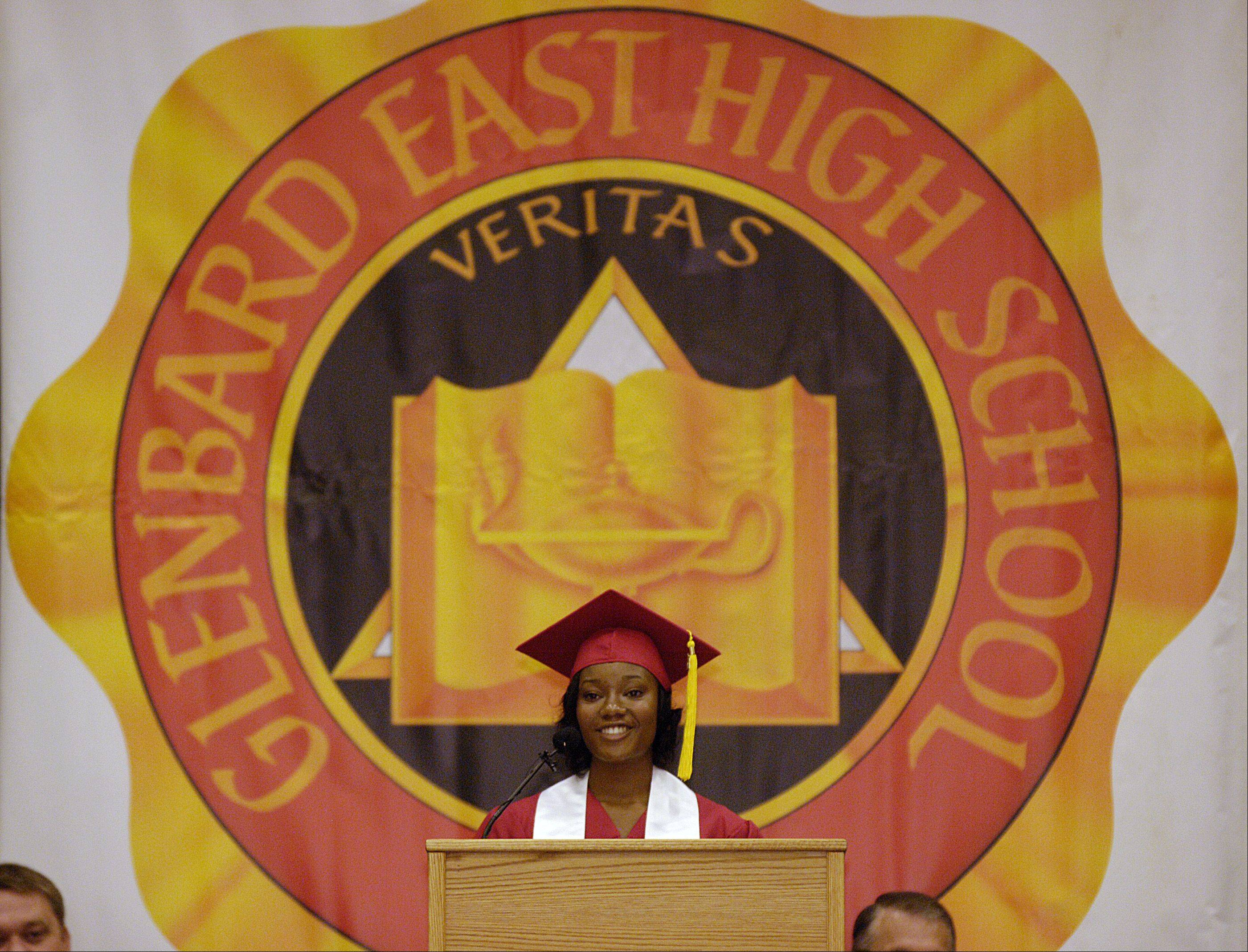 Nia Joiner gives the greetings from the Class of 2012 address during the Glenbard East High School graduation ceremony, Sunday June 3 at the College of DuPage in Glen Ellyn.