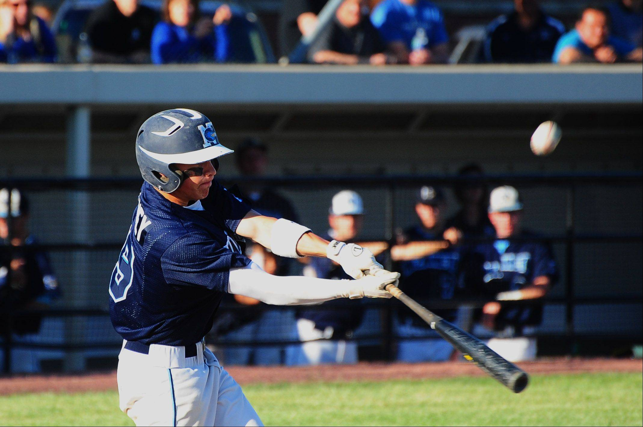 Nazareth Academy's Sean Maloney connects against Grayslake Central in Class 3A baseball supersectional action Monday.