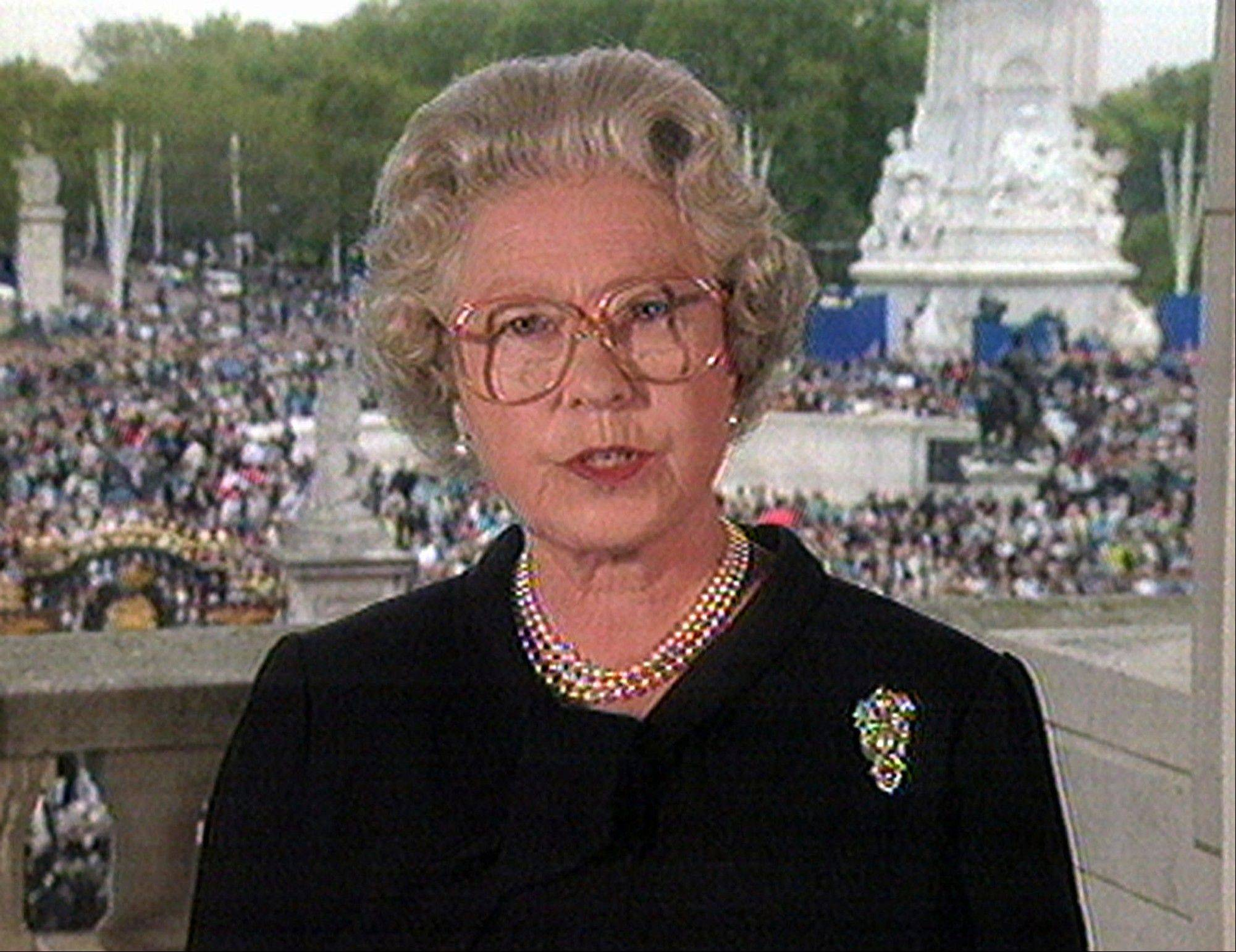 In this Sept. 5, 1997, image from video, Britain's Queen Elizabeth II speaks from London's Buckingham Palace to pay tribute to Diana, Princess of Wales.